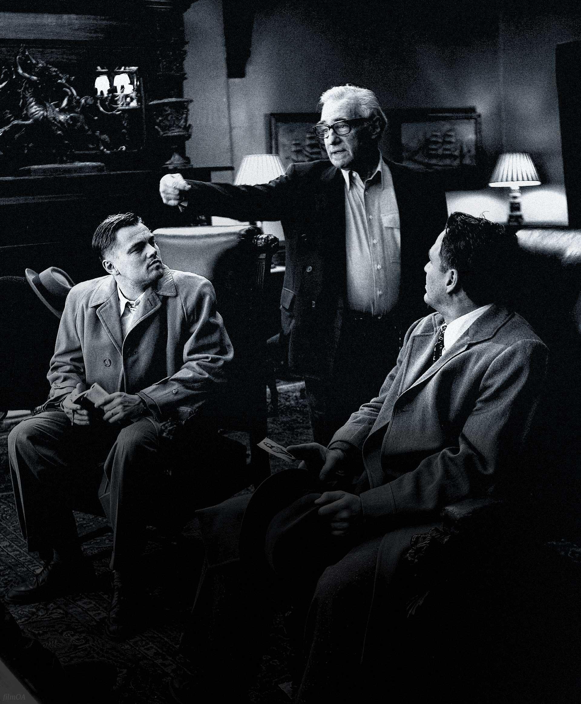 Martin Scorsese directing Leonardo DiCaprio black and white Leonardo Dicaprio