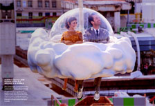 Audrey Tautou and Romain Duris fly around in a bubble in Mood Indigo
