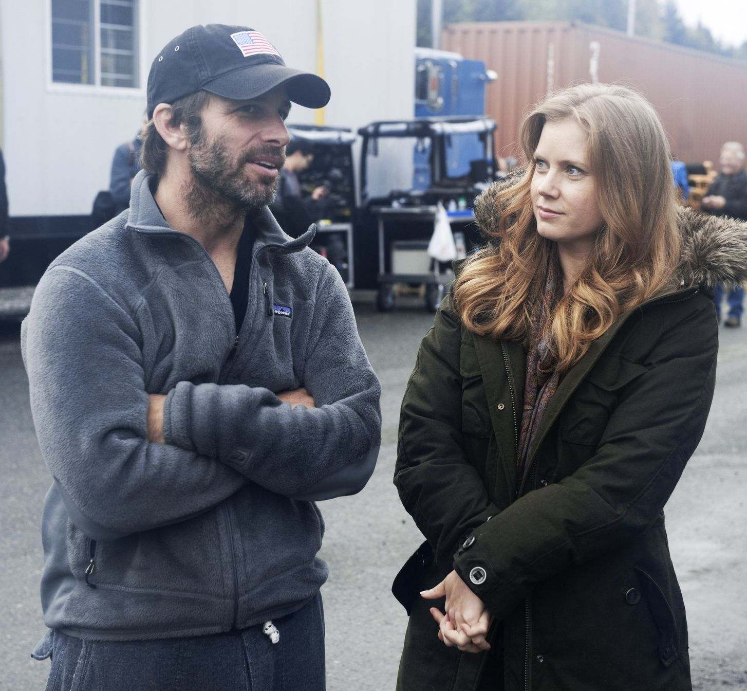 Zack Snyder and Amy Adams talk on set