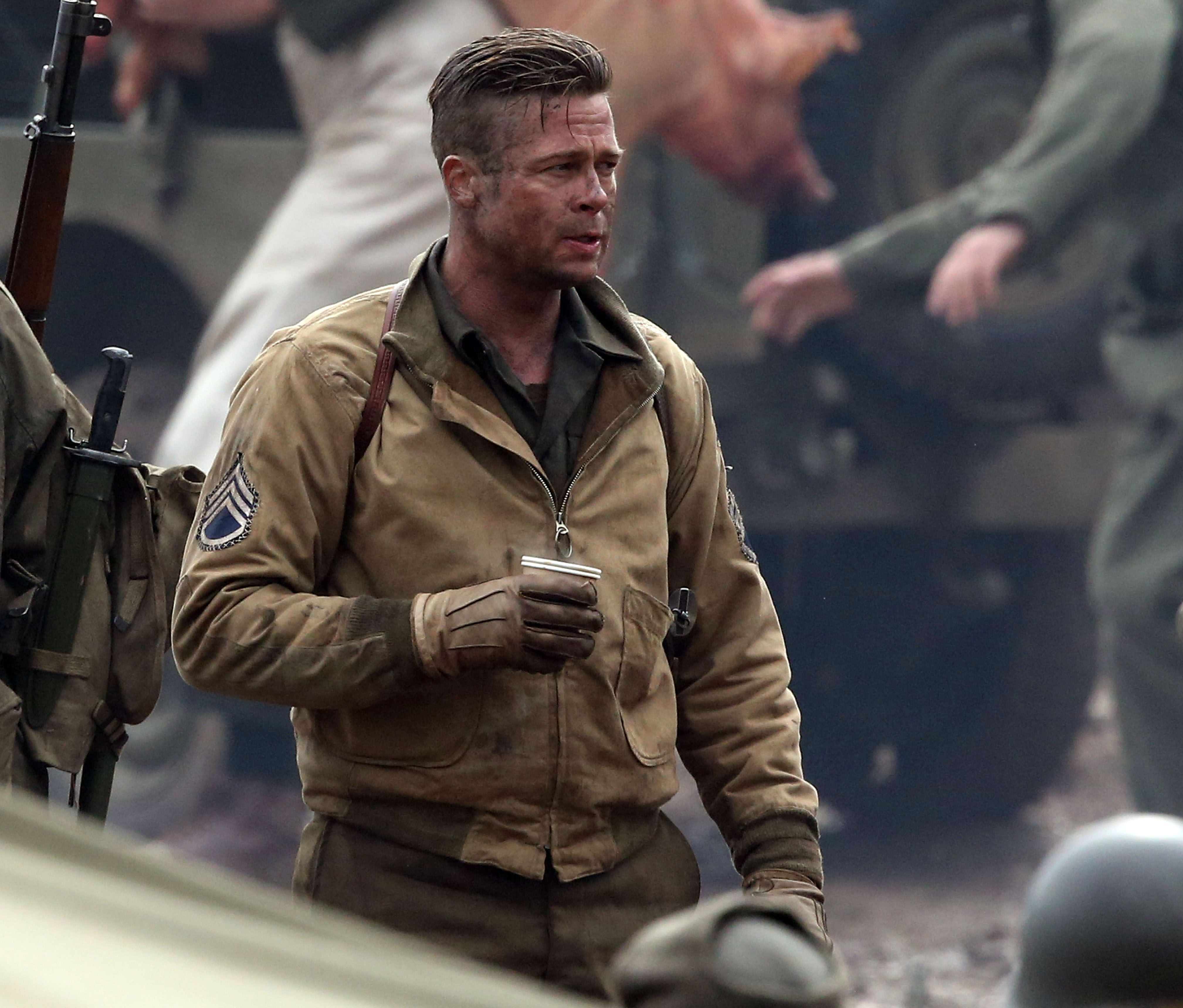 Brad Pitt on the set of Fury