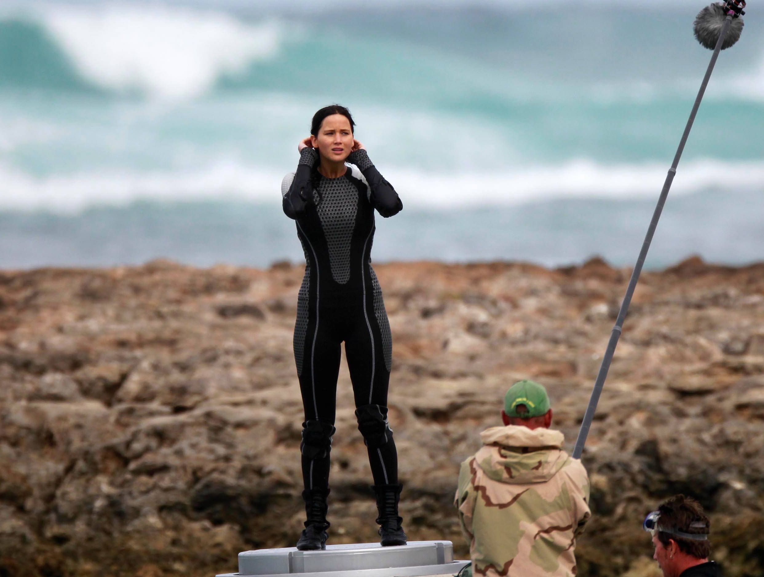 Jennifer Lawrence on the set of The Hunger Games: Catching F