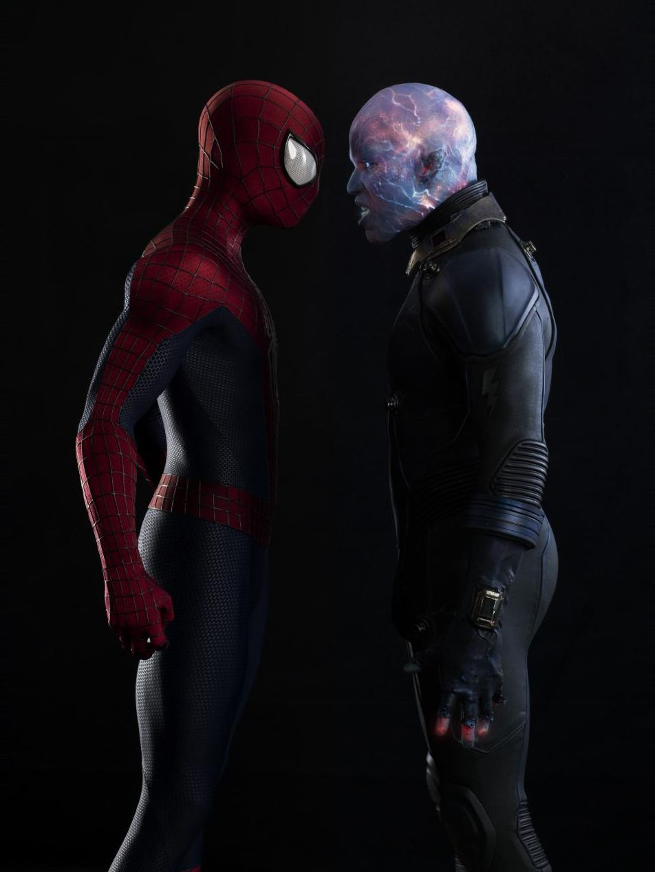 Spider-Man and Electro stare each other down