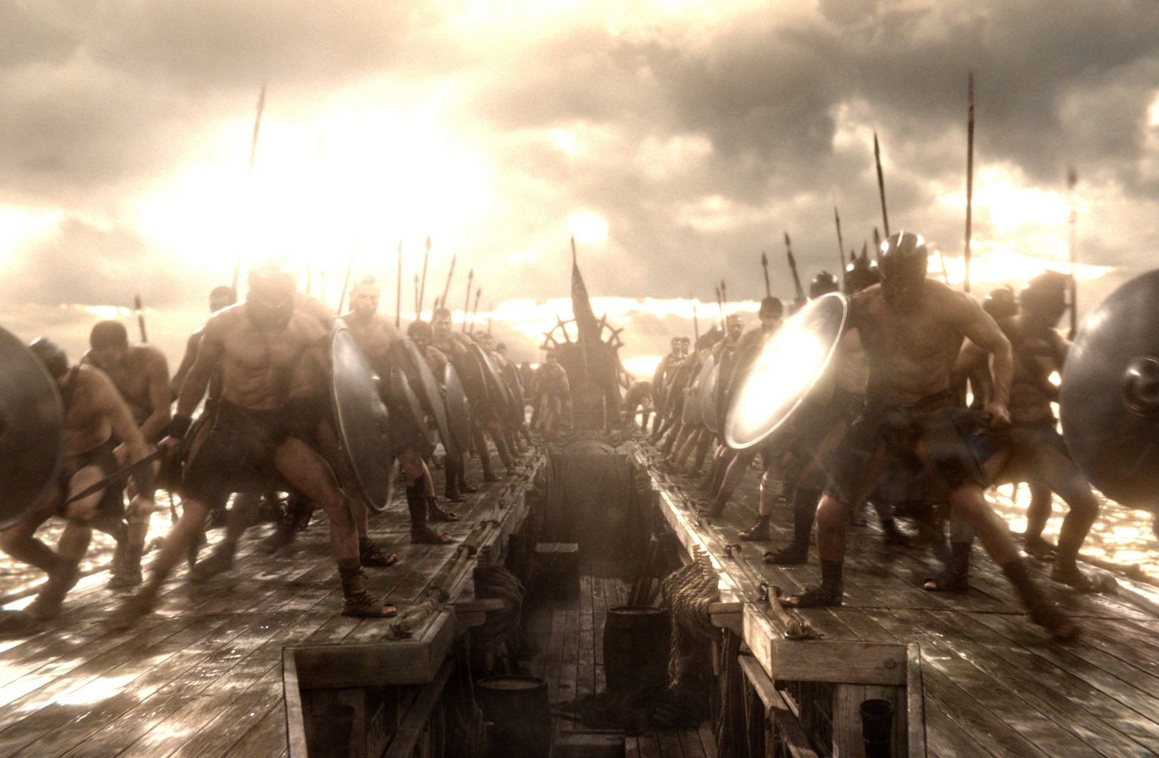 On boat ready to fight, 300: Rise of an Empire