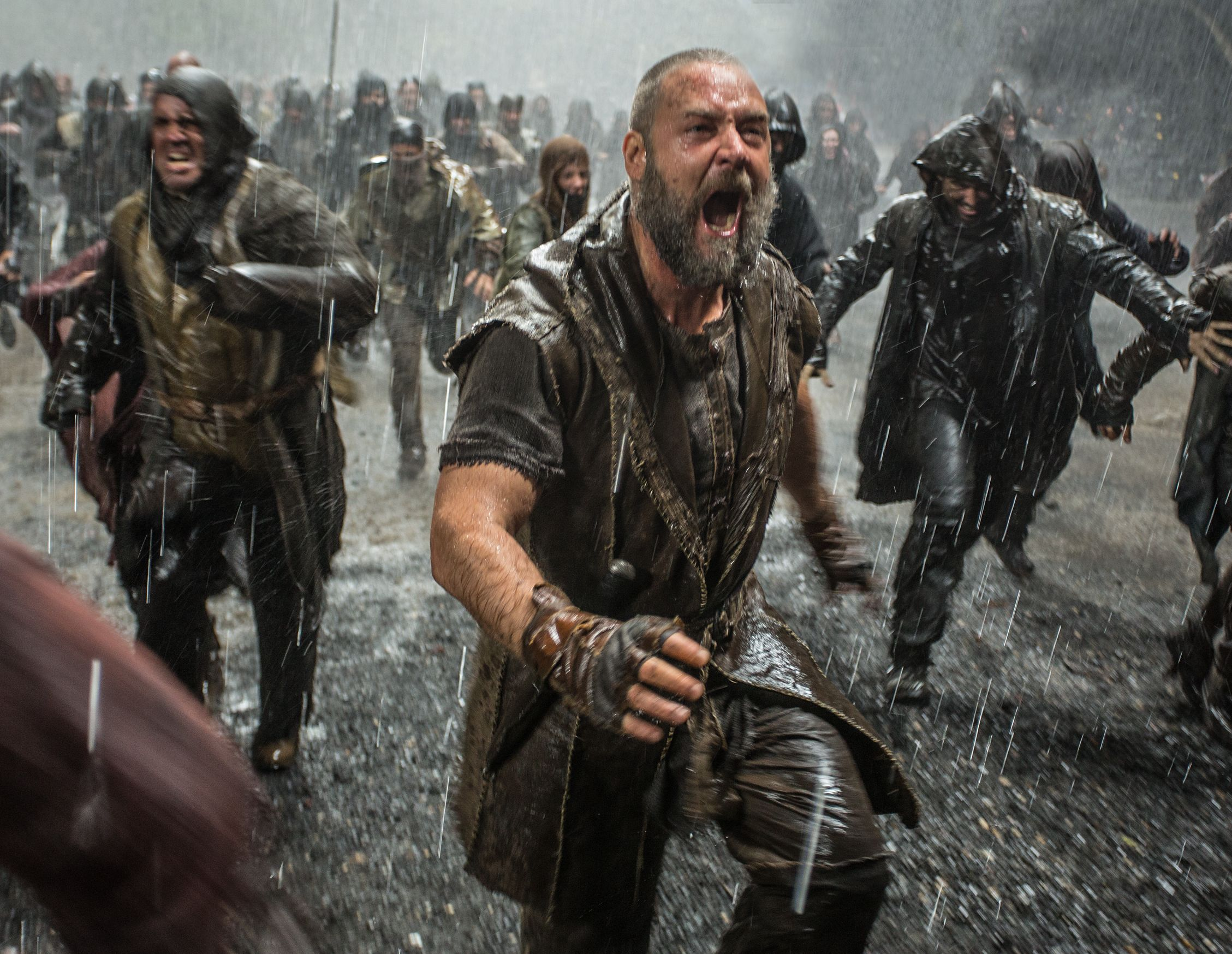 Russell Crowe as Noah screaming in the rain