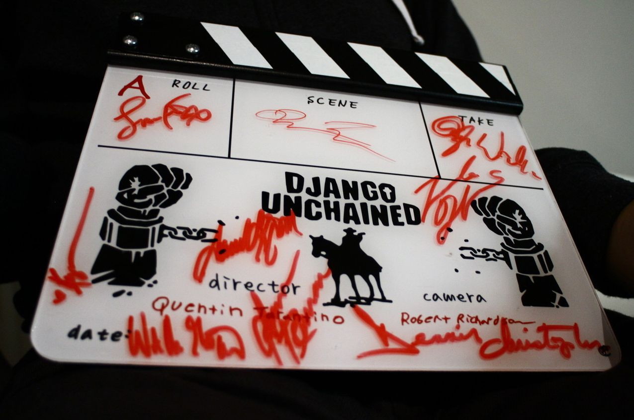 Clapperboard from Django Unchained, signed by the cast and c