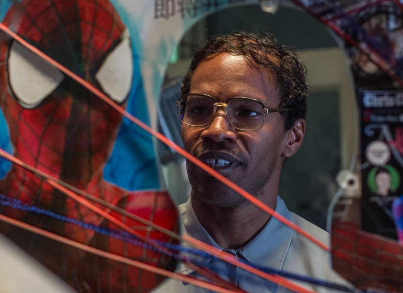 Jamie Foxx in a Spider-web