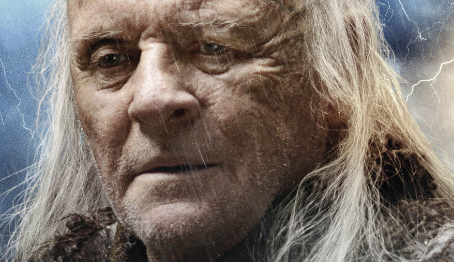Close-up of Hopkins in the rain in Noah