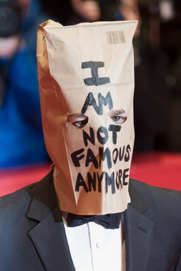 Shia LaBeouf wearing a paper bag over his head to the Nympho