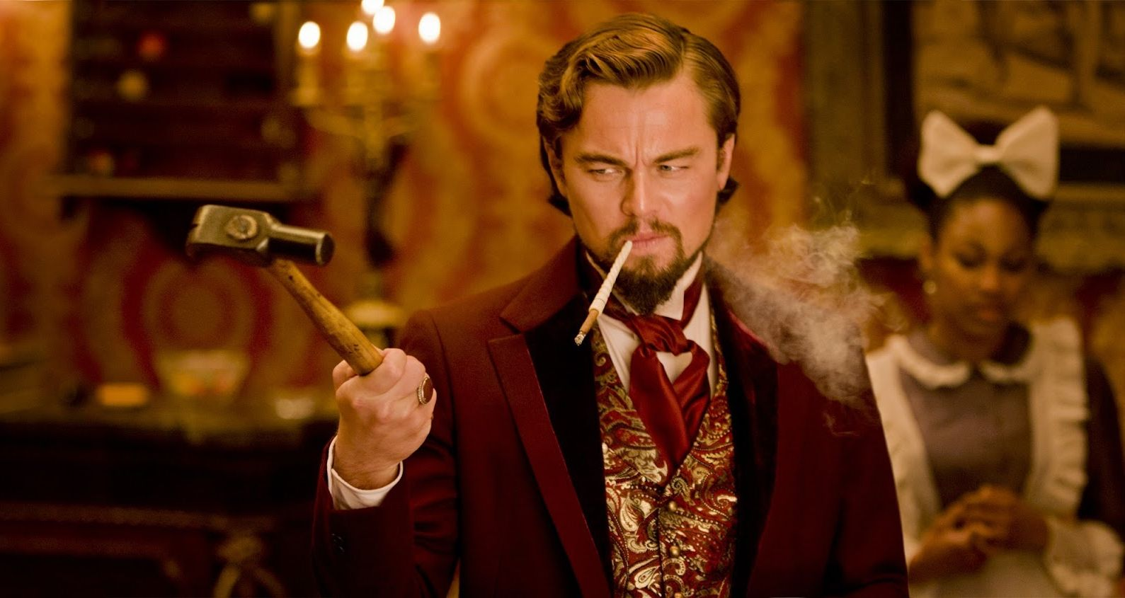In Django Unchained, DiCaprio accidentally smashed a glass and sliced his hand. This was kept in the film.