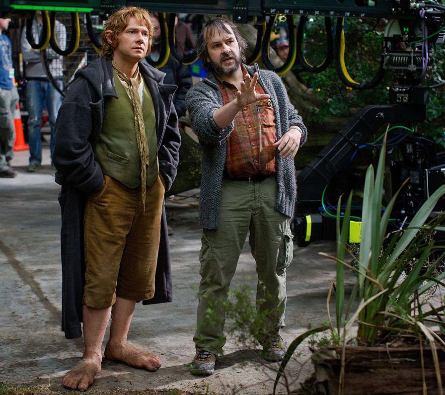 Peter Jackson and Martin Freeman filming the final Hobbit fi