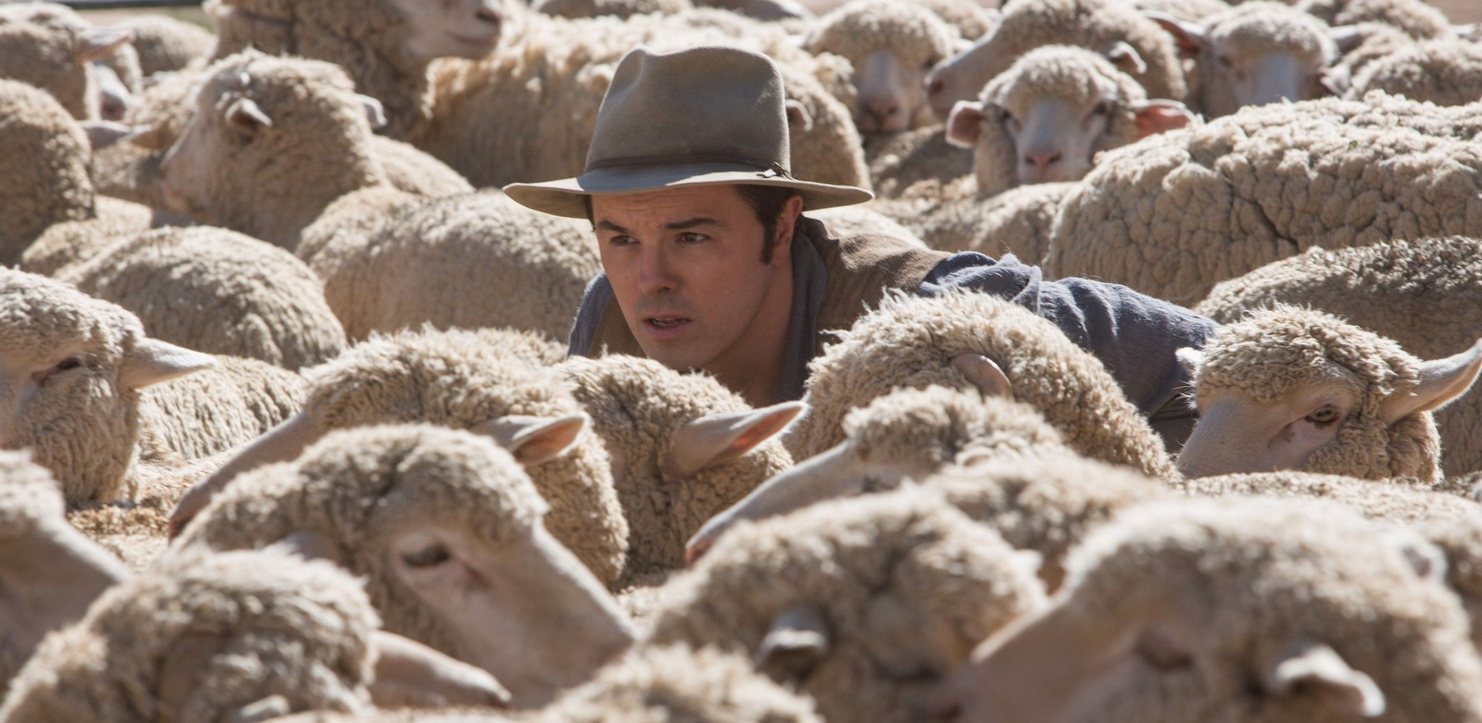 Seth MacFarlane amongst some sheep