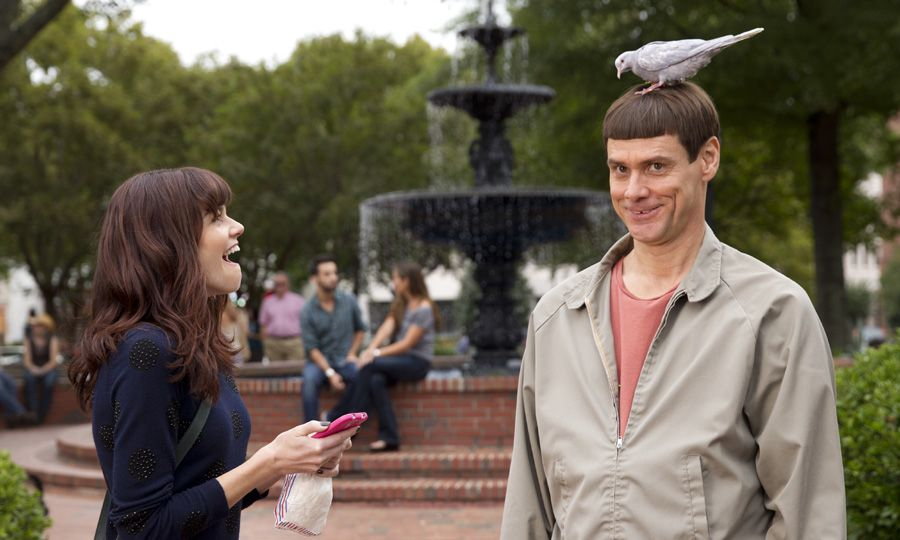 Lloyd Christmas with a pigeon on his