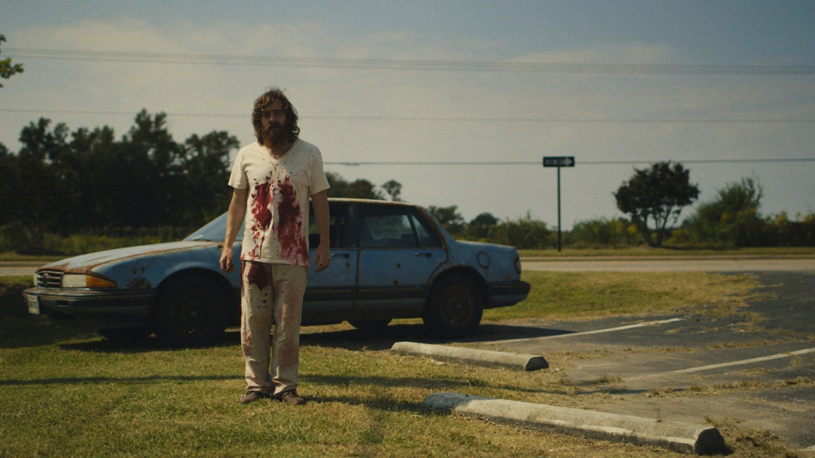 Macon Blair covered in blood in Blue Ruin