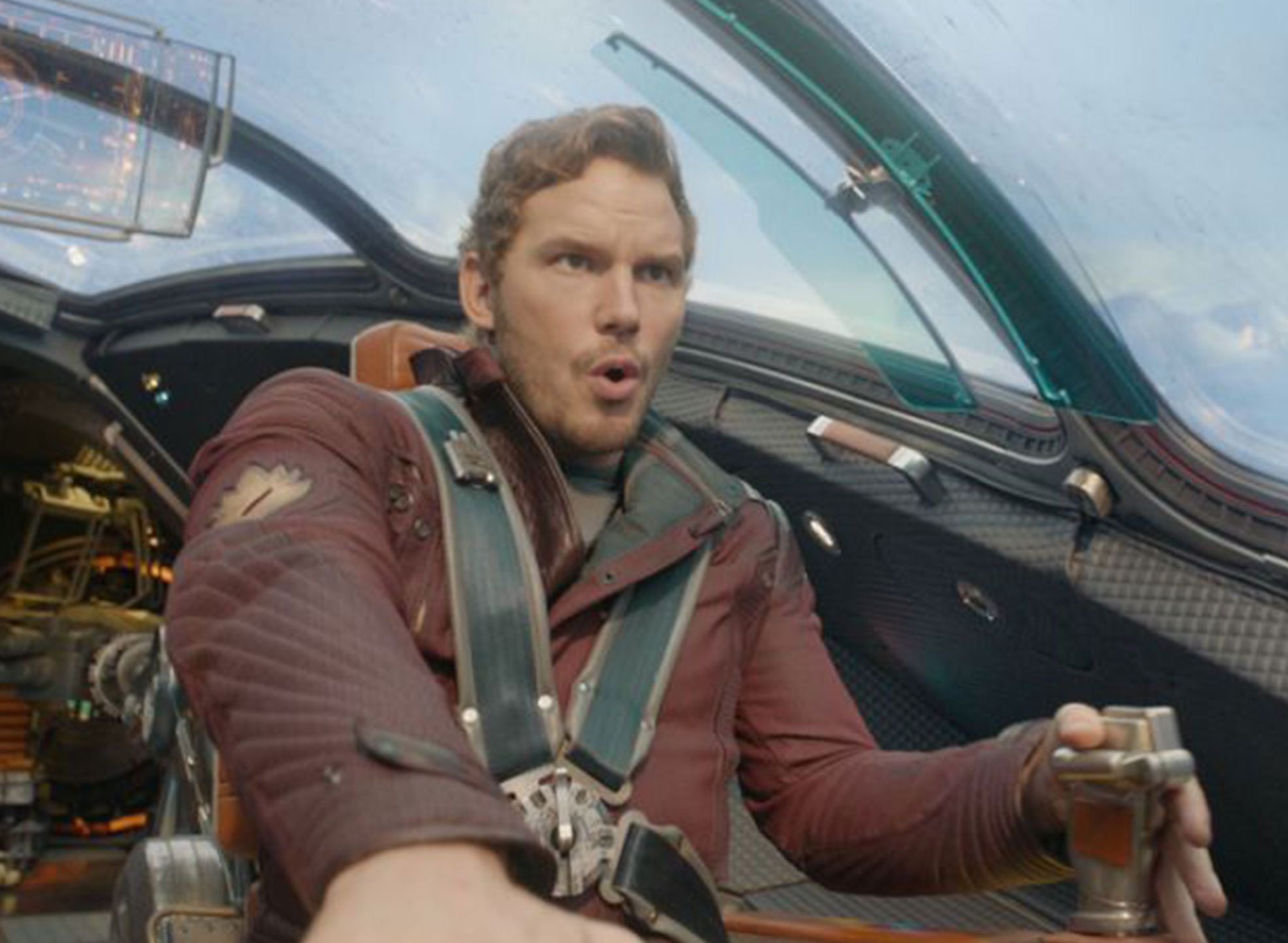 Peter Quill flies around in ship