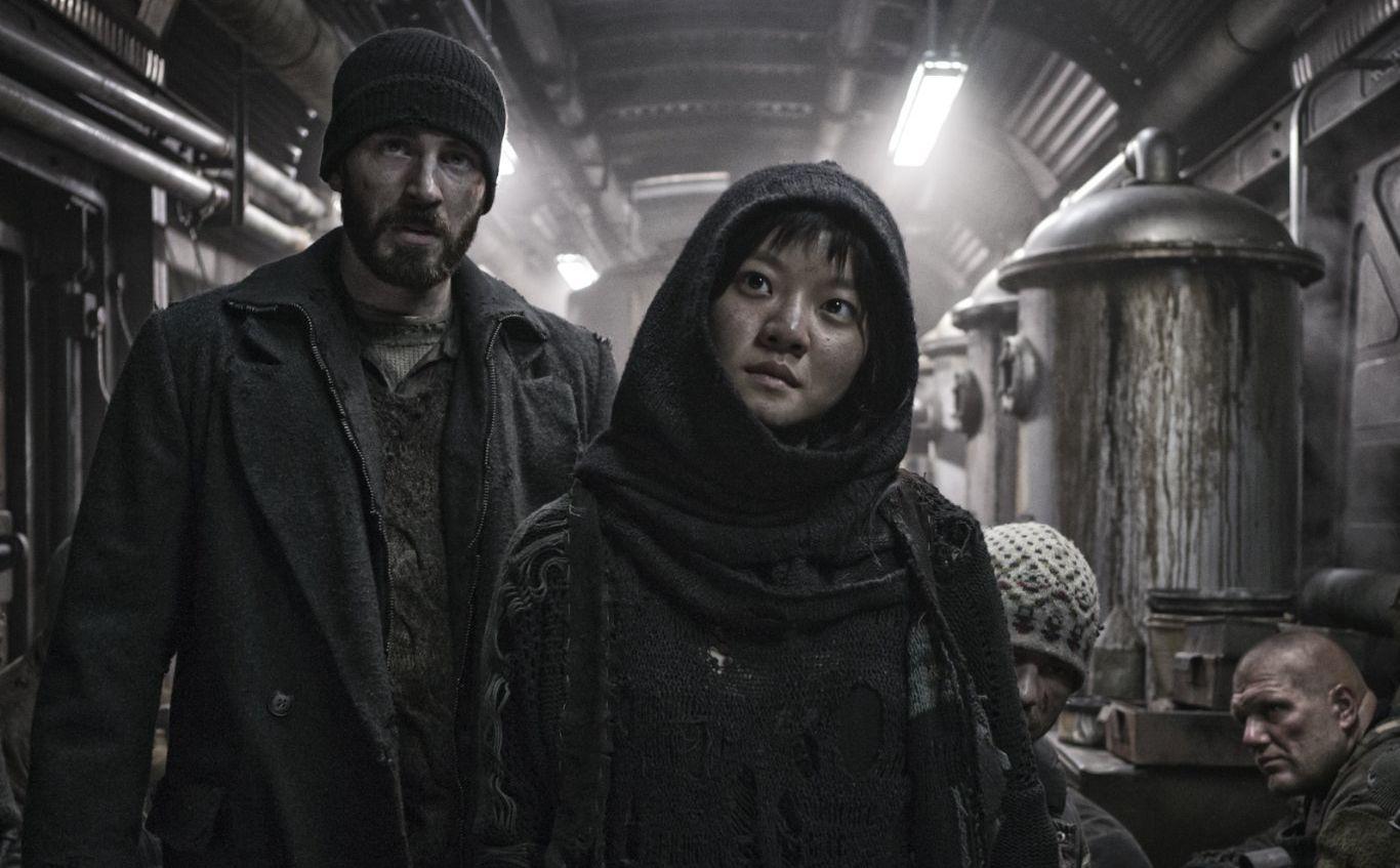 Chris Evans and Ah-sung Ko in Snowpiercer