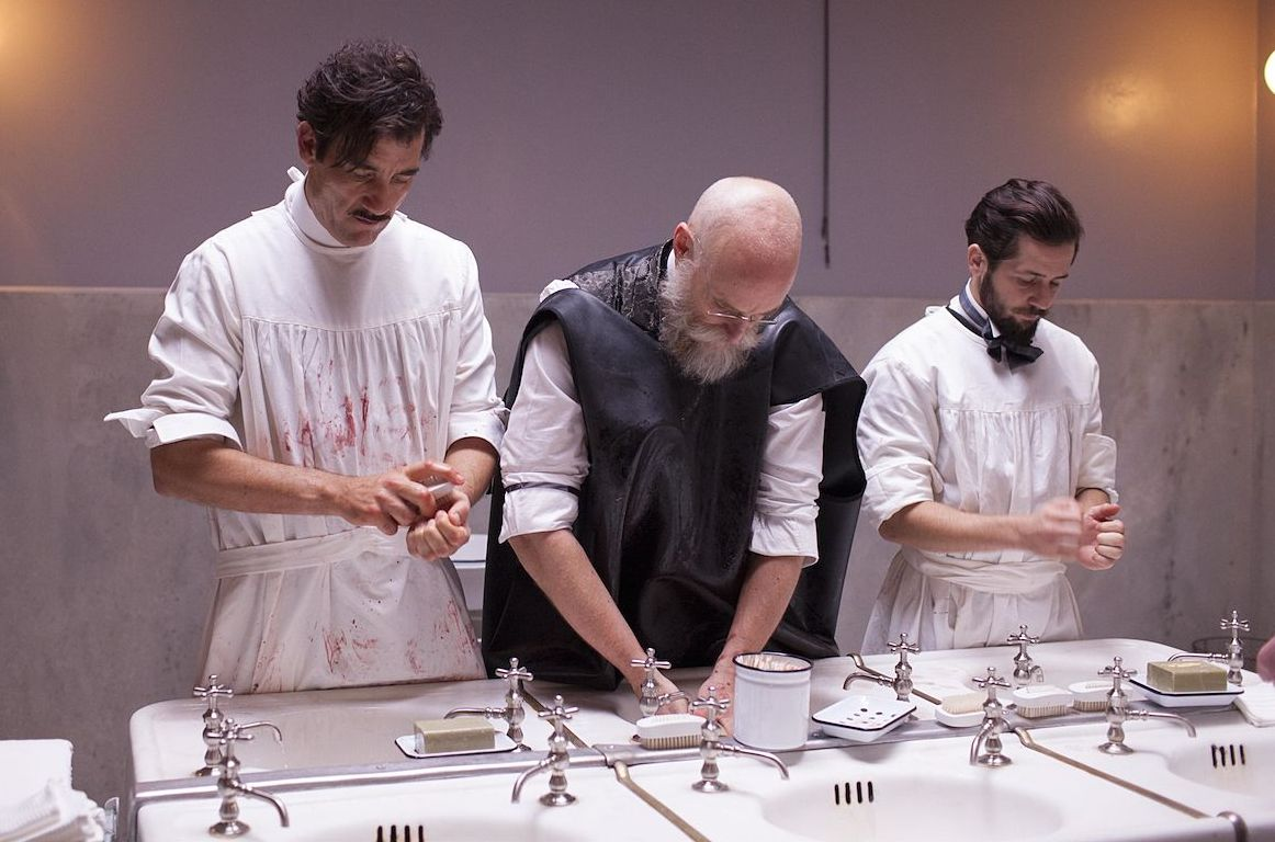 Matt Frewer and Clive Owen getting ready to operate in The K