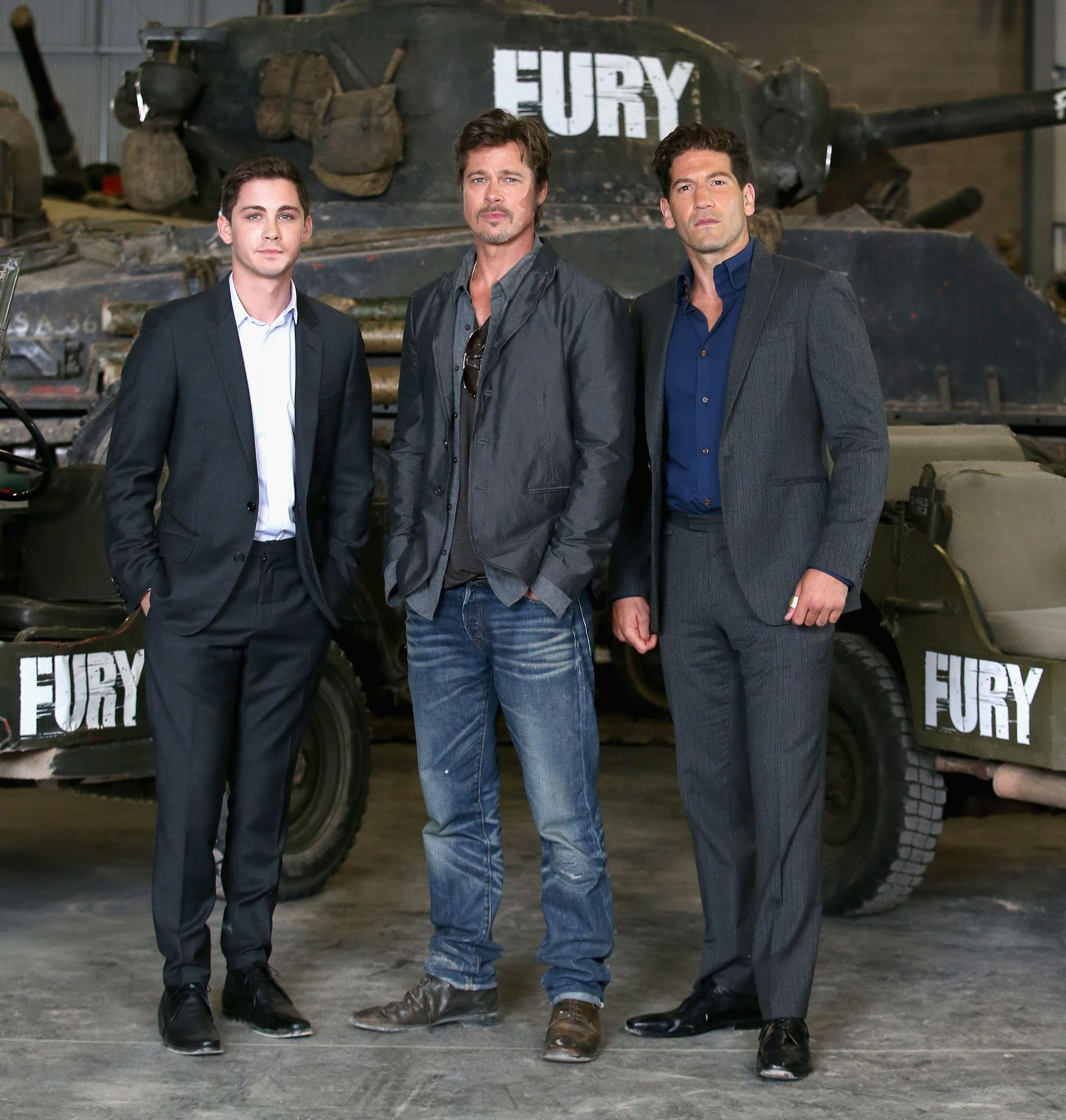 Logan Lerman, Brad Pitt and Jon Bernthal Fury promo