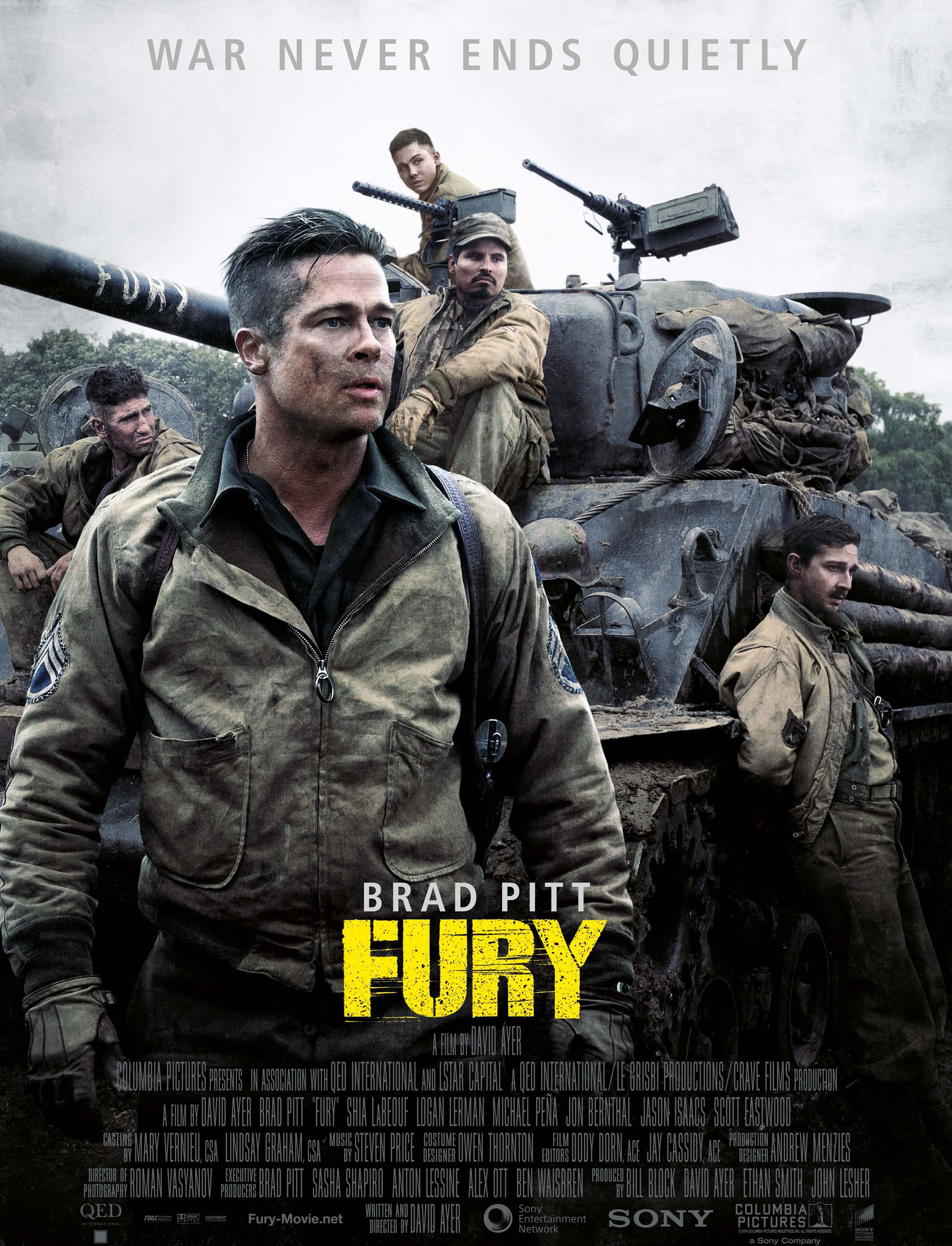 Fury poster - War Never Ends Quietly