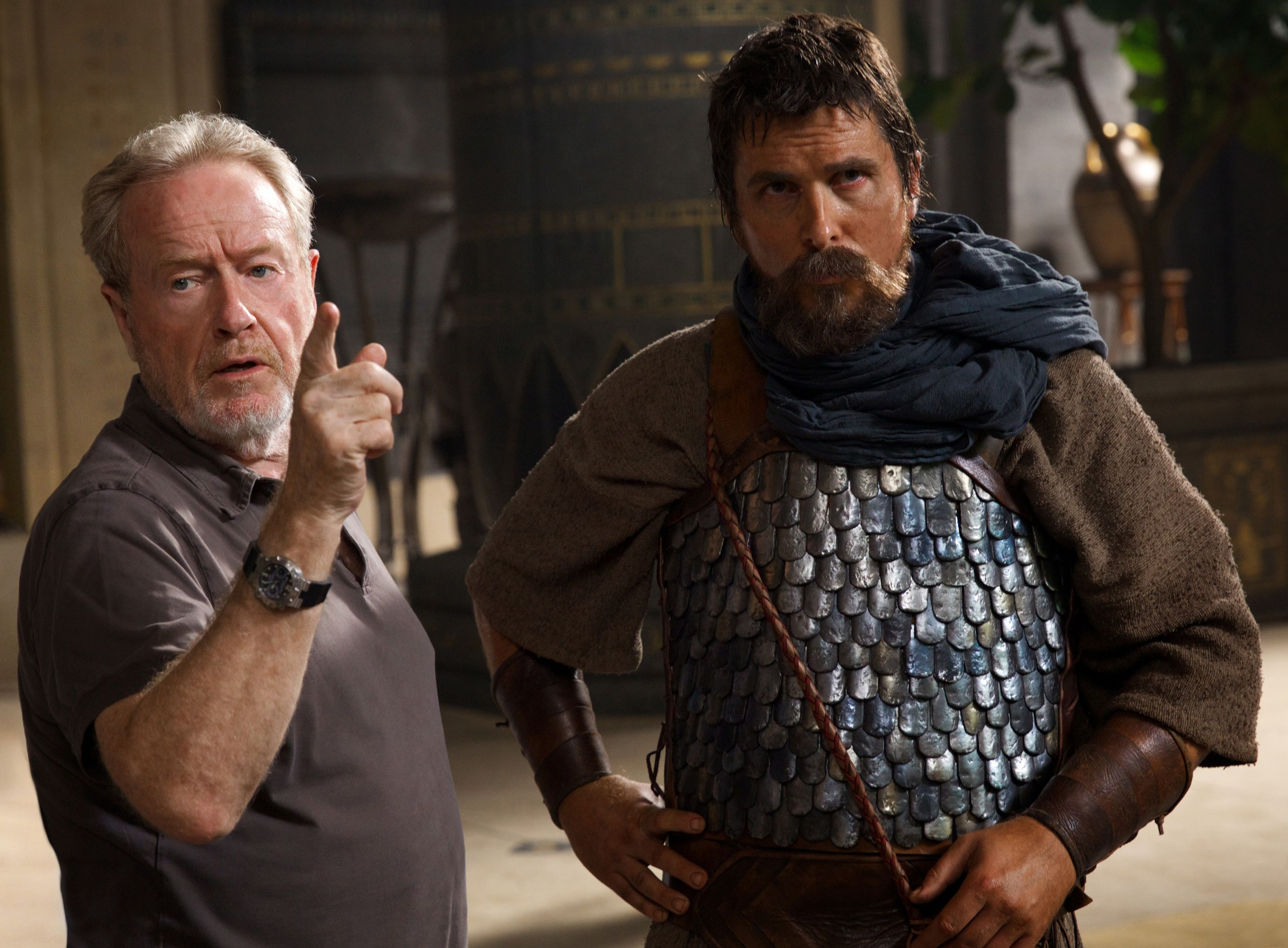Ridley Scott and Christian Bale filming Exodus: Gods and Kin
