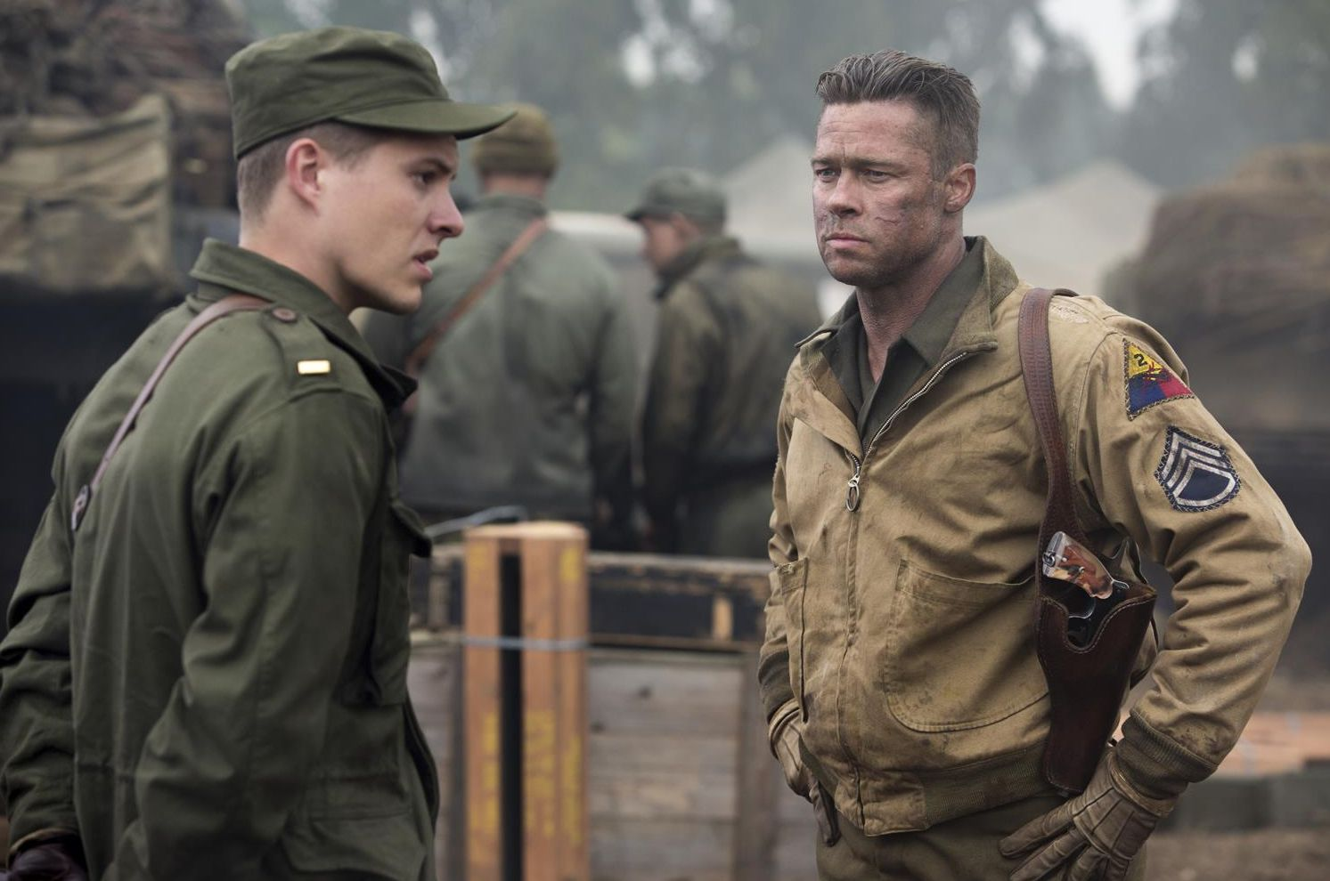 Brad Pitt pissed off, scar on face - Fury