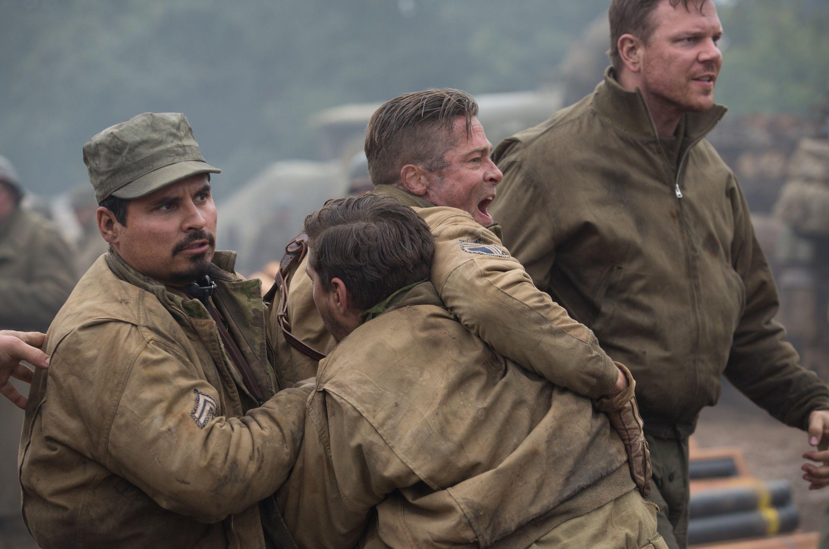 Brad Pitt upset screaming in Fury