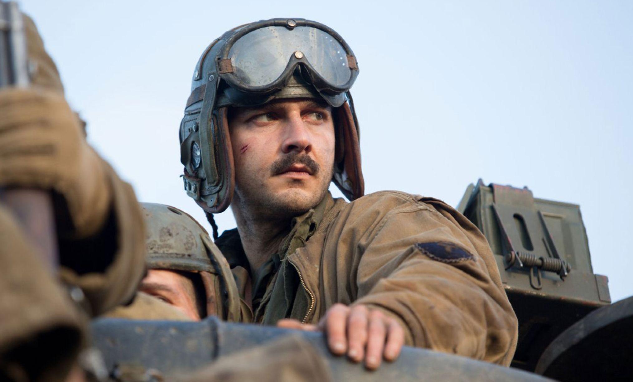 Shia LaBeouf close-up as Bible Boyd Swan in Fury