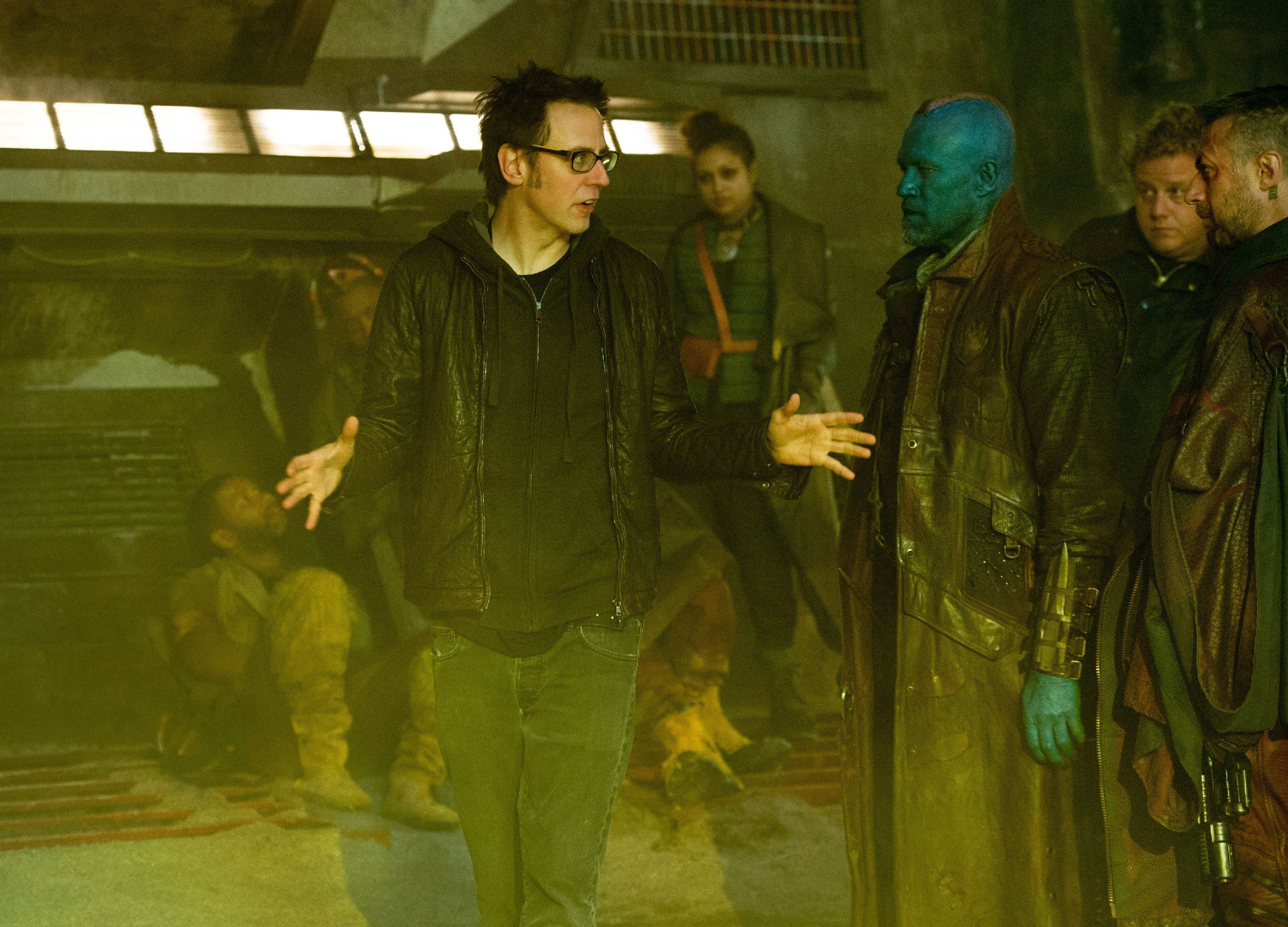 James Gunn on the set directing Guardians of the Galaxy
