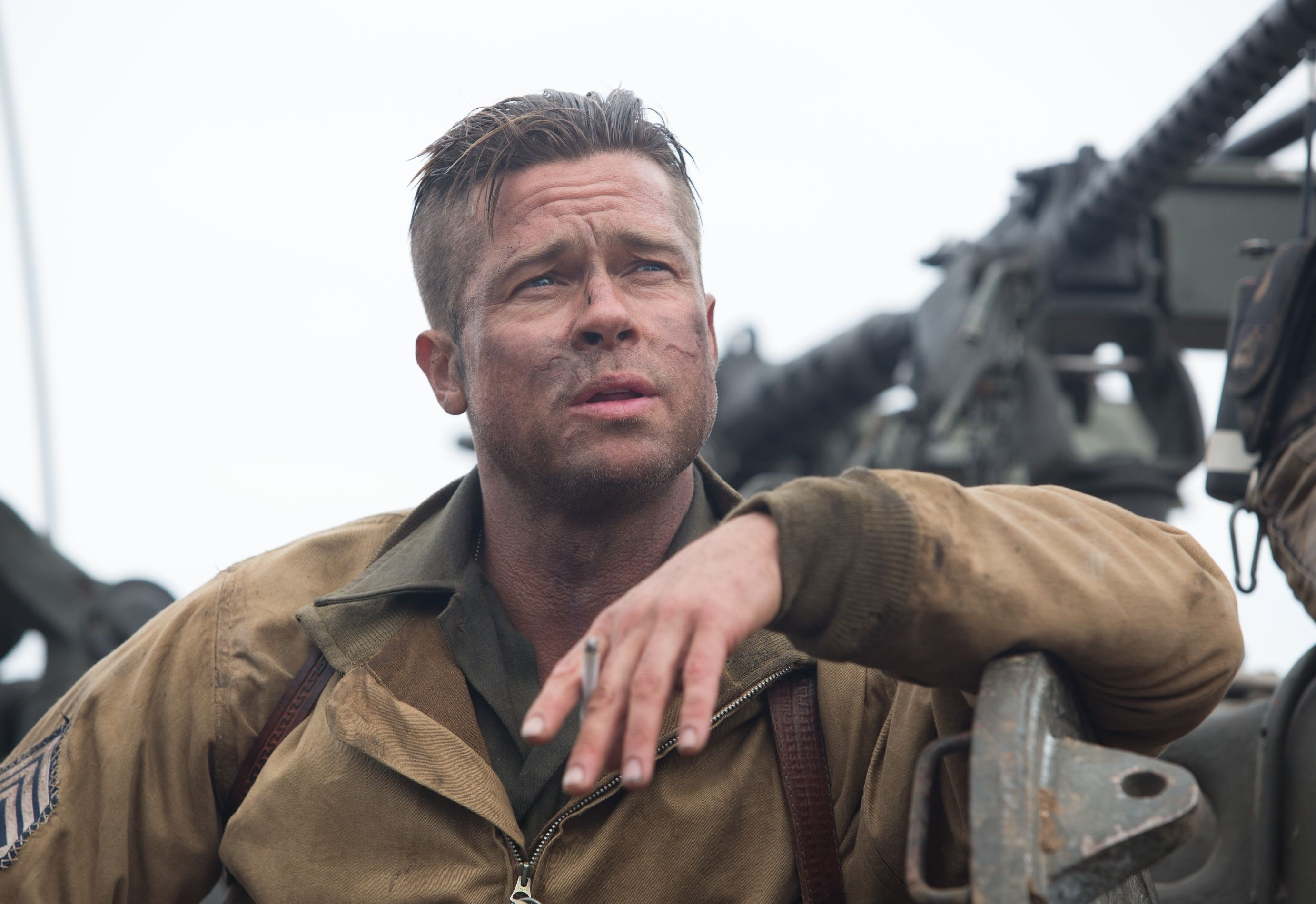 Brad Pitt close-up smoking in Fury