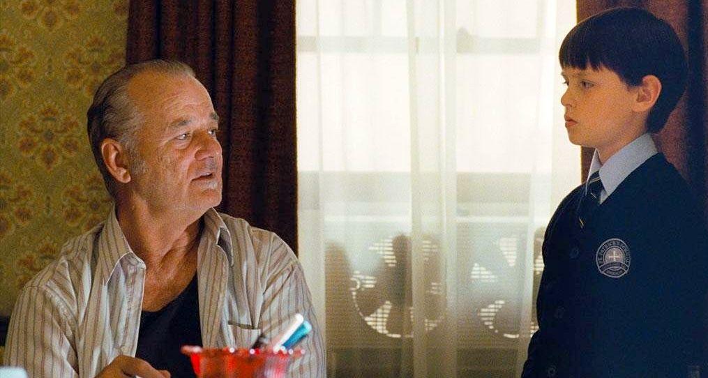 Jaeden Lieberher and Bill Murray on the set of St. Vincent
