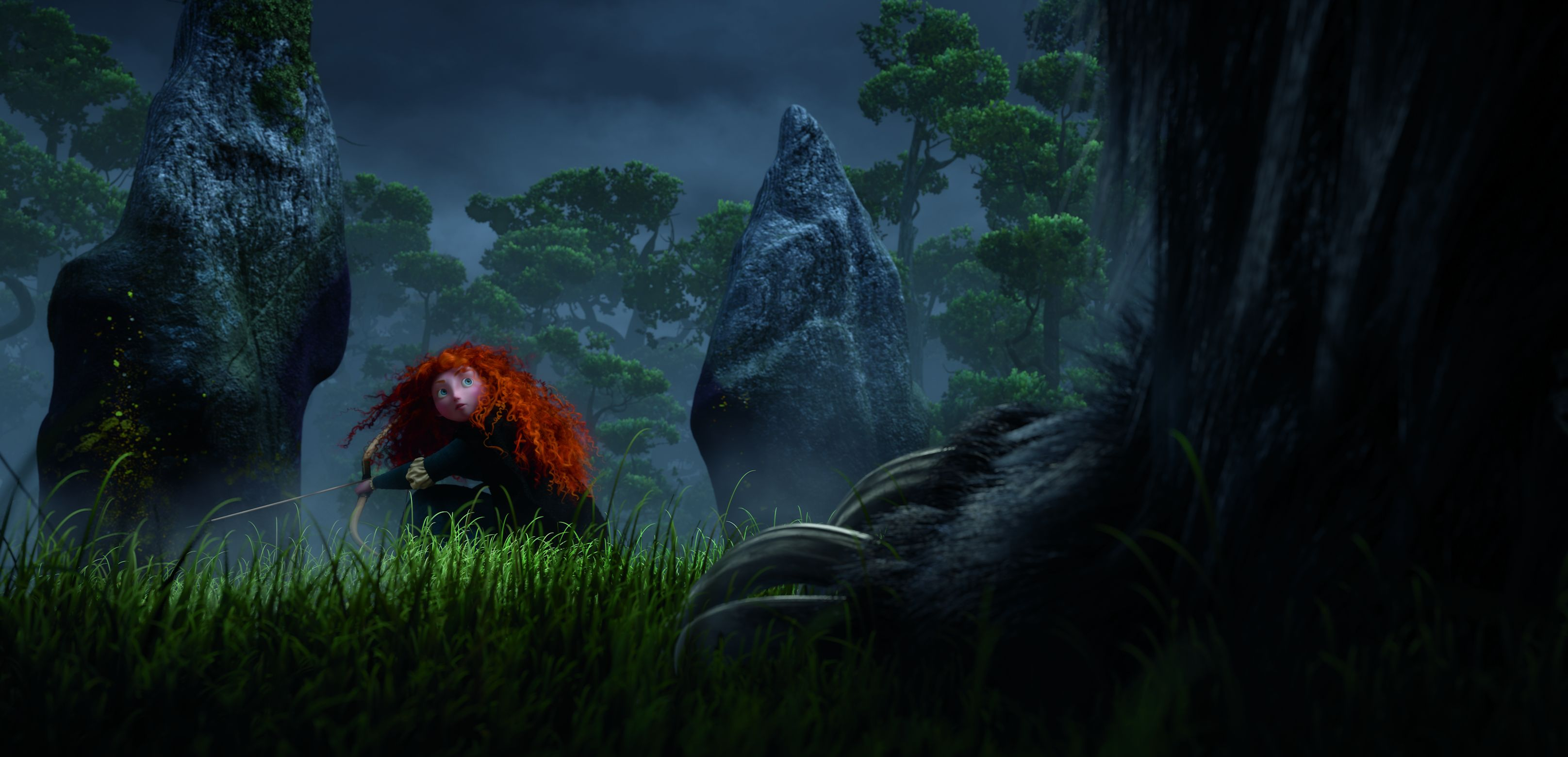 Merida and a huge foor in the dark - Brave (2012)