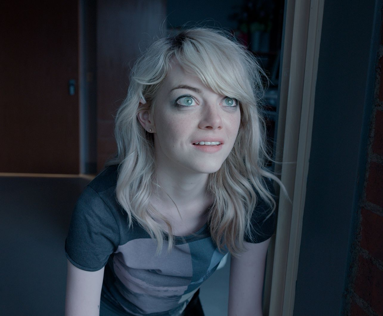 Emma Stone with extremely green eyes in Birdman