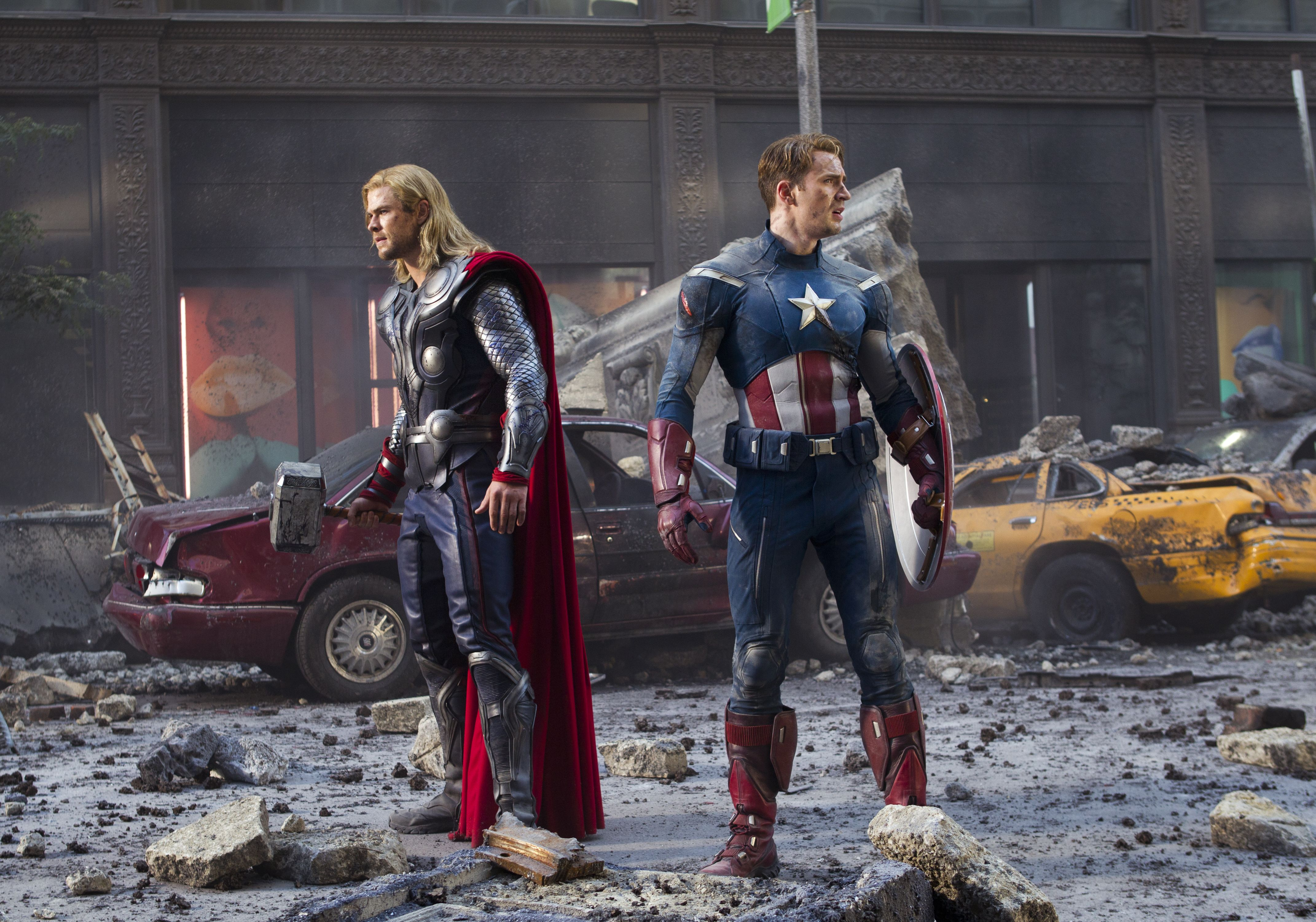 Thor and Captain America on destroyed street, The Avengers