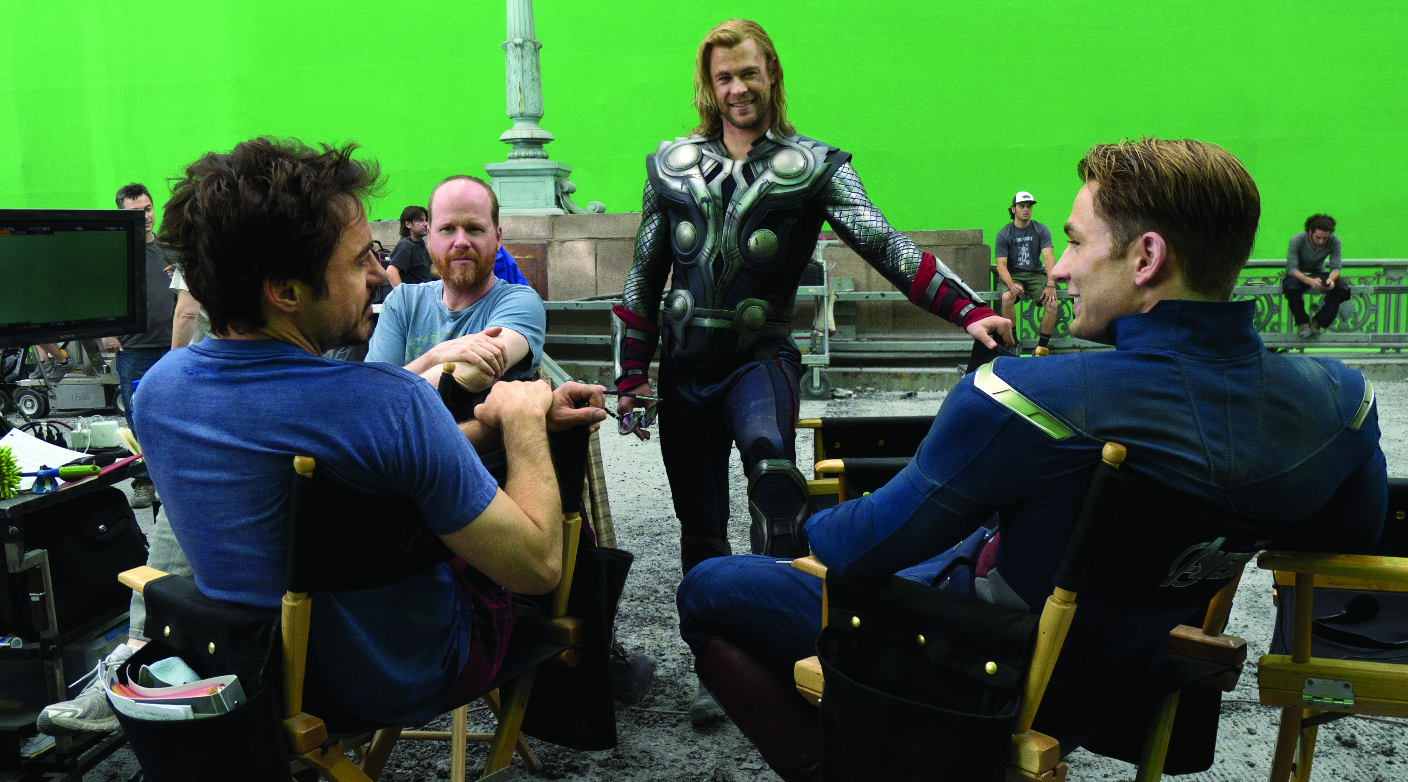 The Avengers cast and crew behind the scenes, green screen a