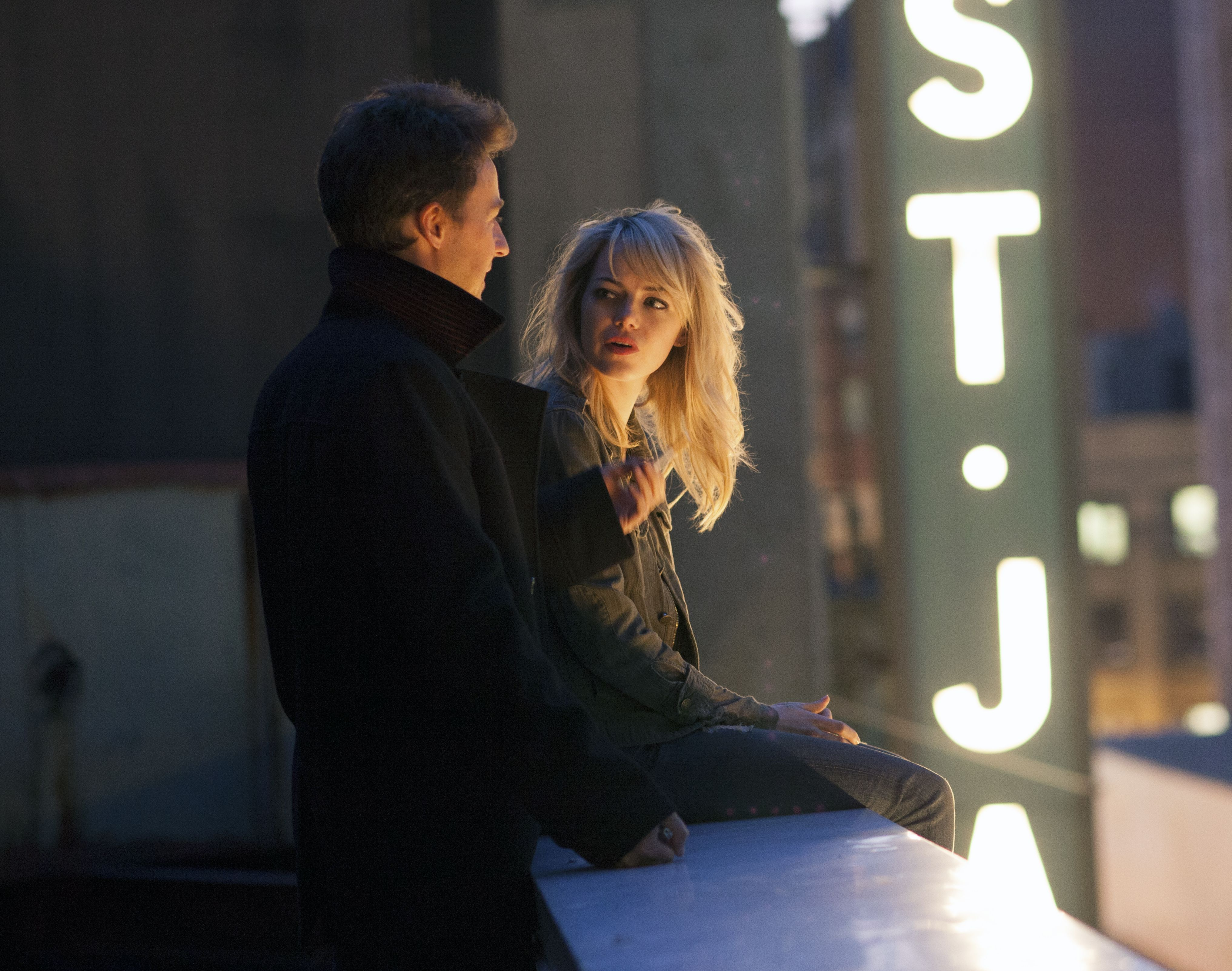 Edward Norton and Emma Stone on the rooftop in Birdman