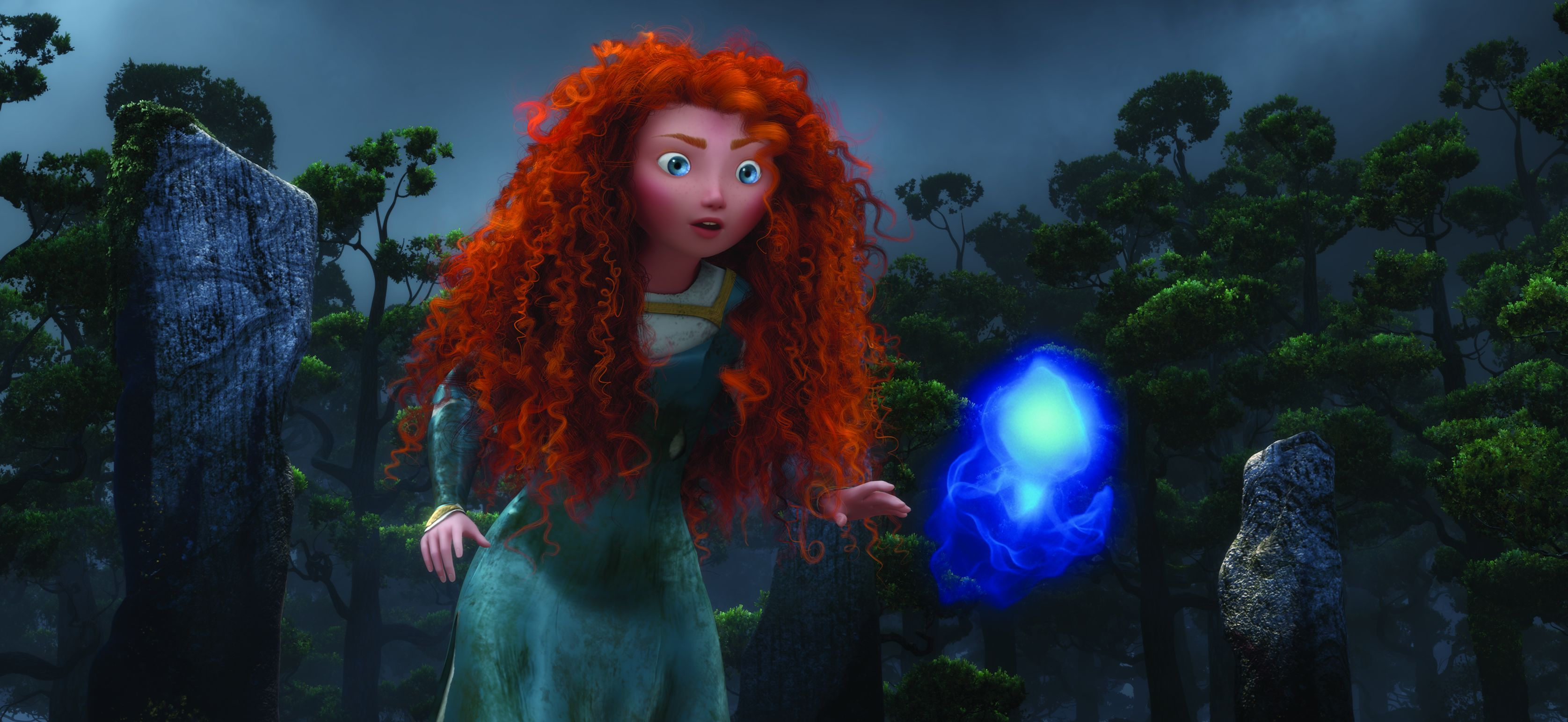Merida and the blue Wisp in Brave