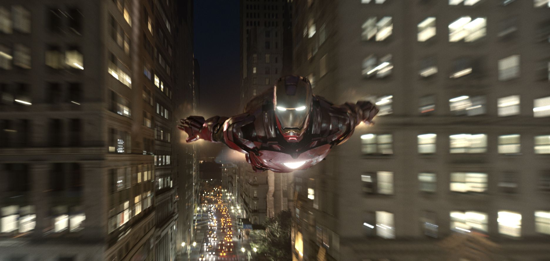 Iron Man flies through the city in The Avengers