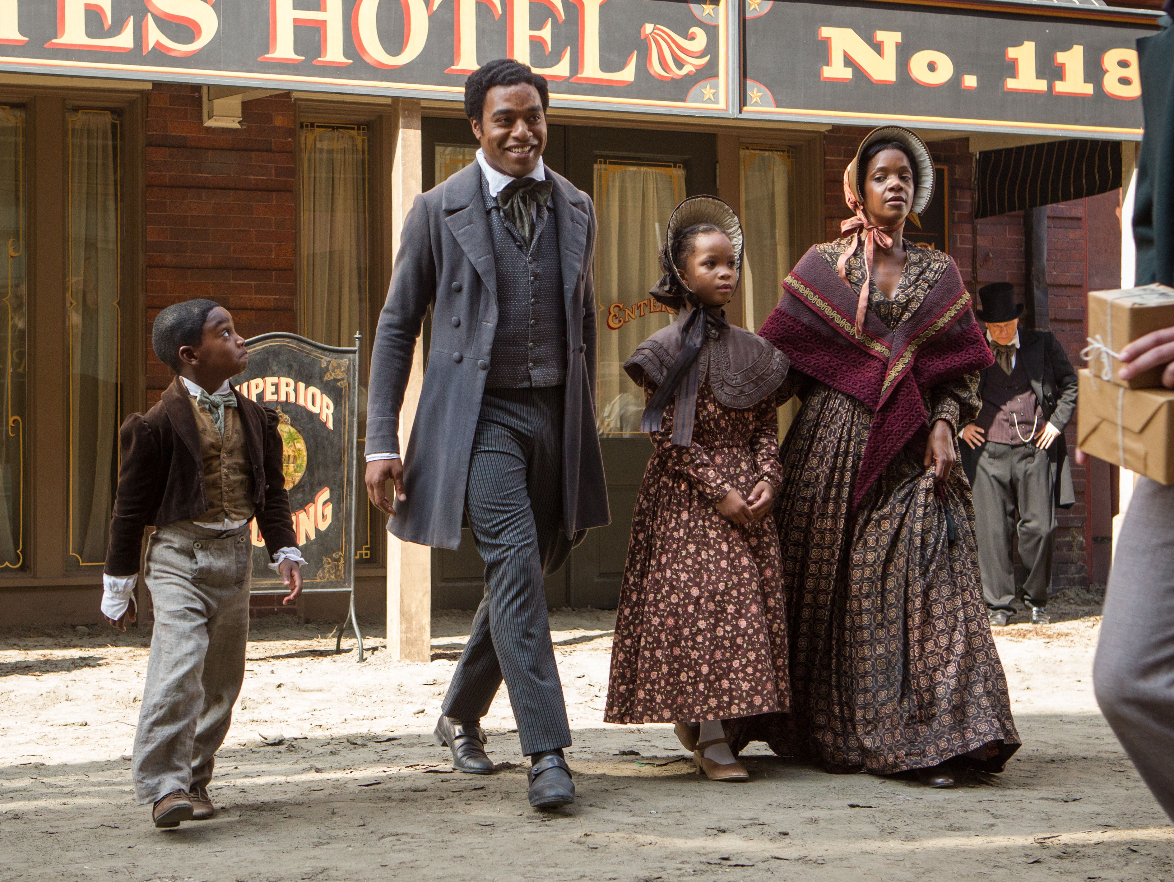 Solomon Northup as a free man with his family in the city