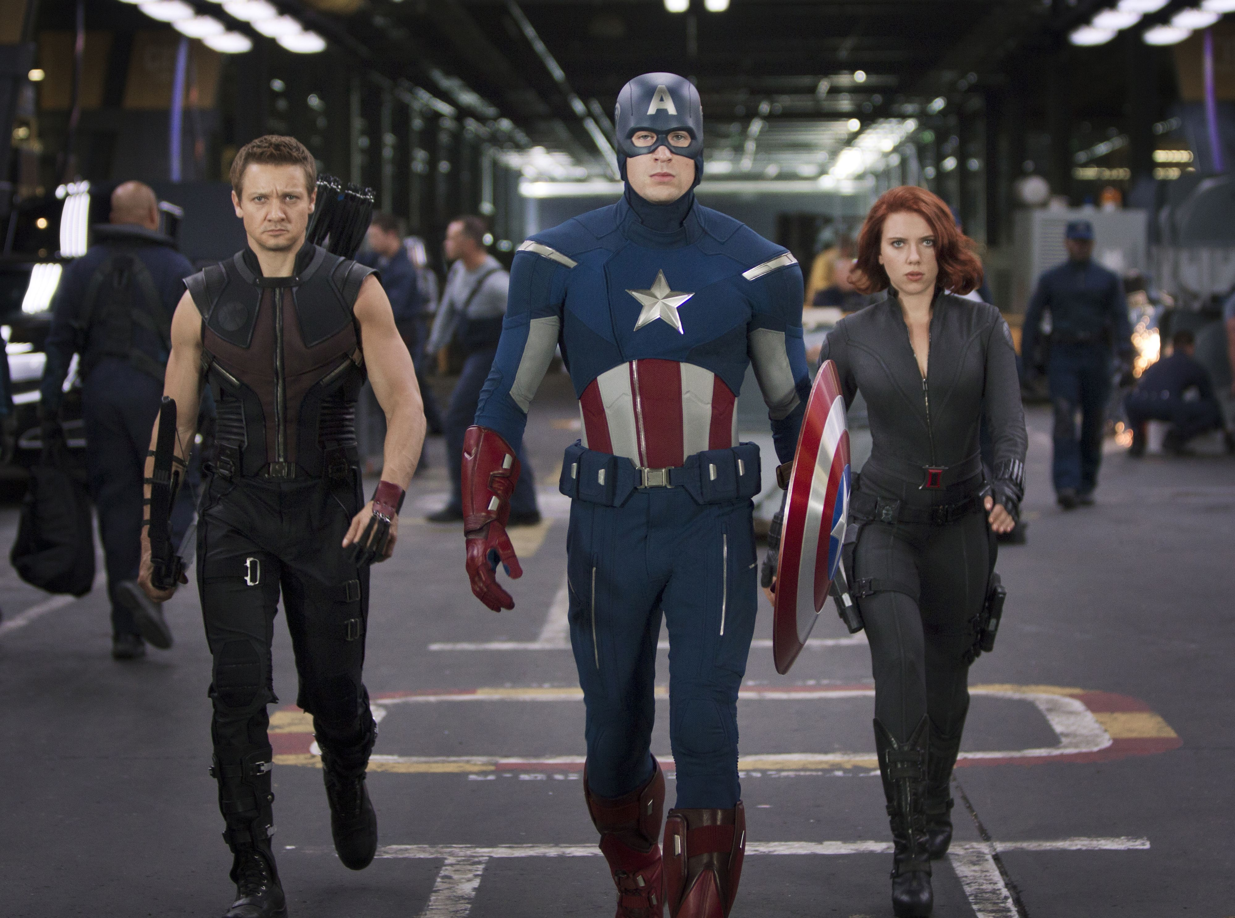 Hawkeye, Captain America and Black Widow in The Avengers