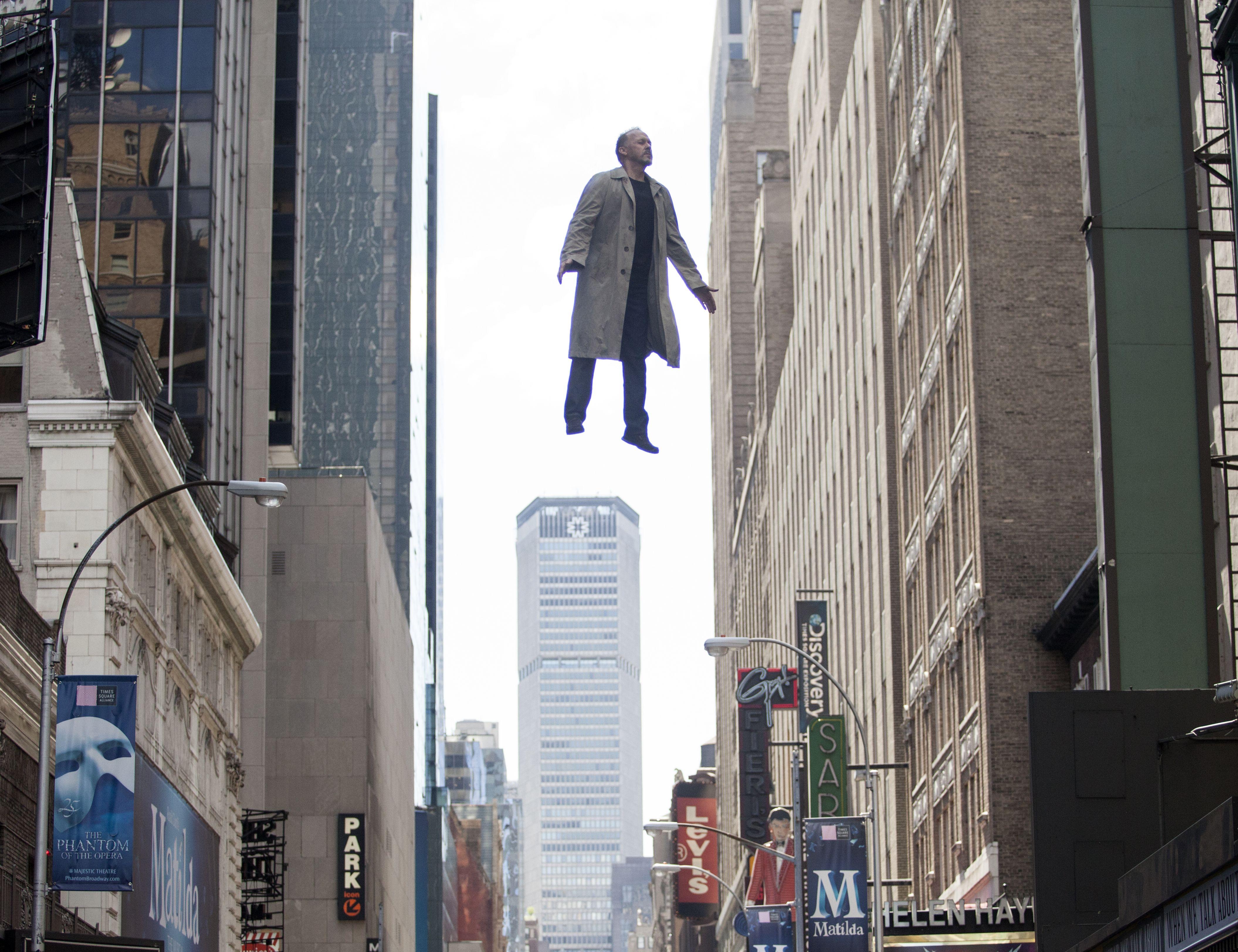 Michael Keaton flies in Birdman