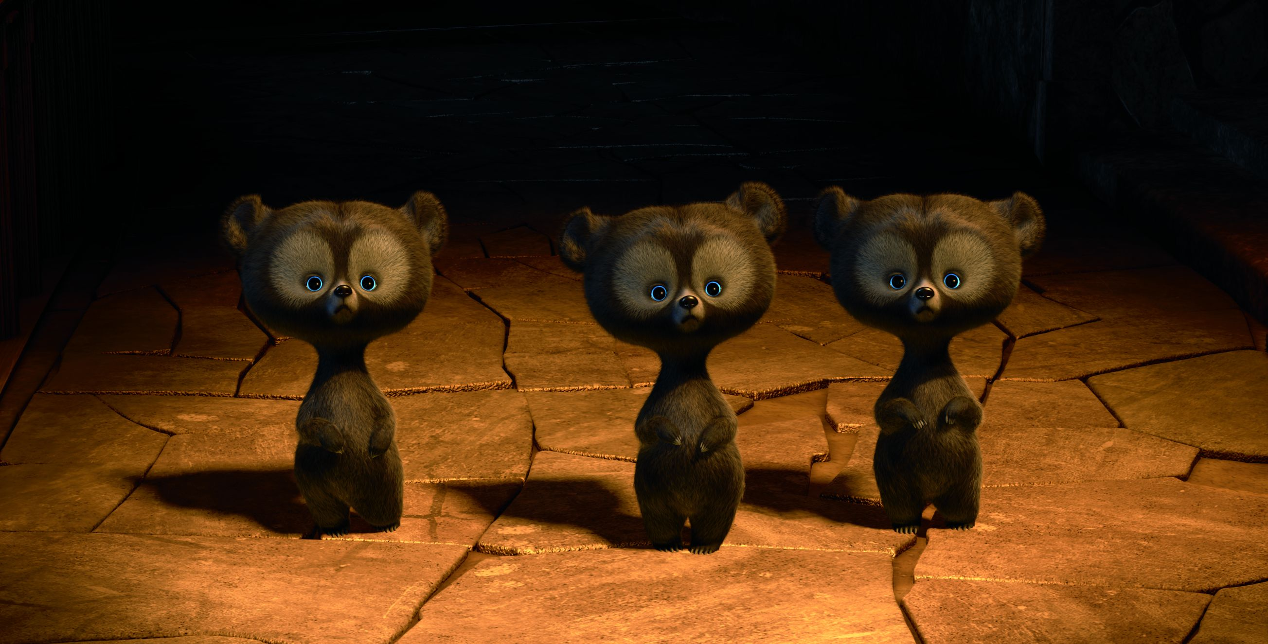 The triplets as cute bear cubs in Brave