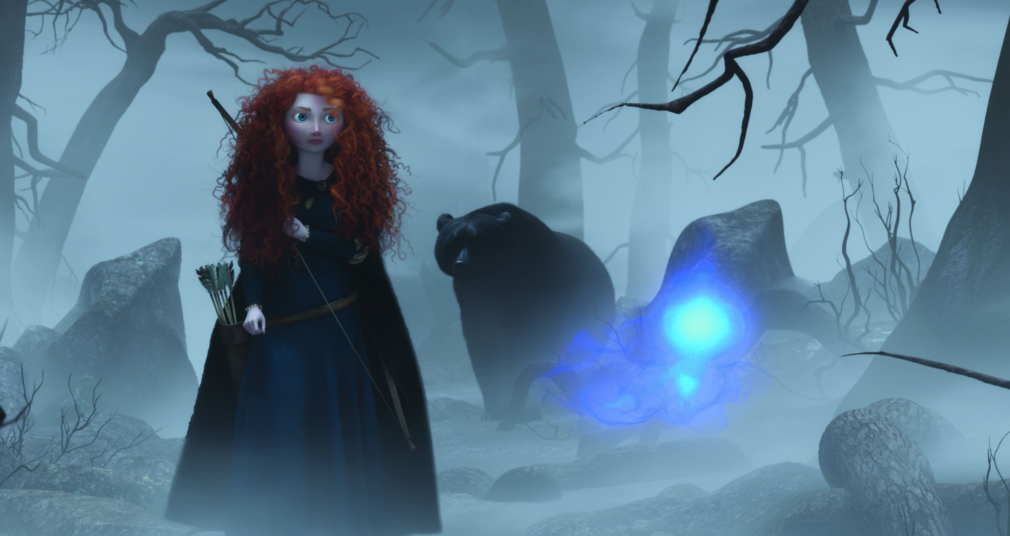 Merida, the bear and a wisp in the forrest