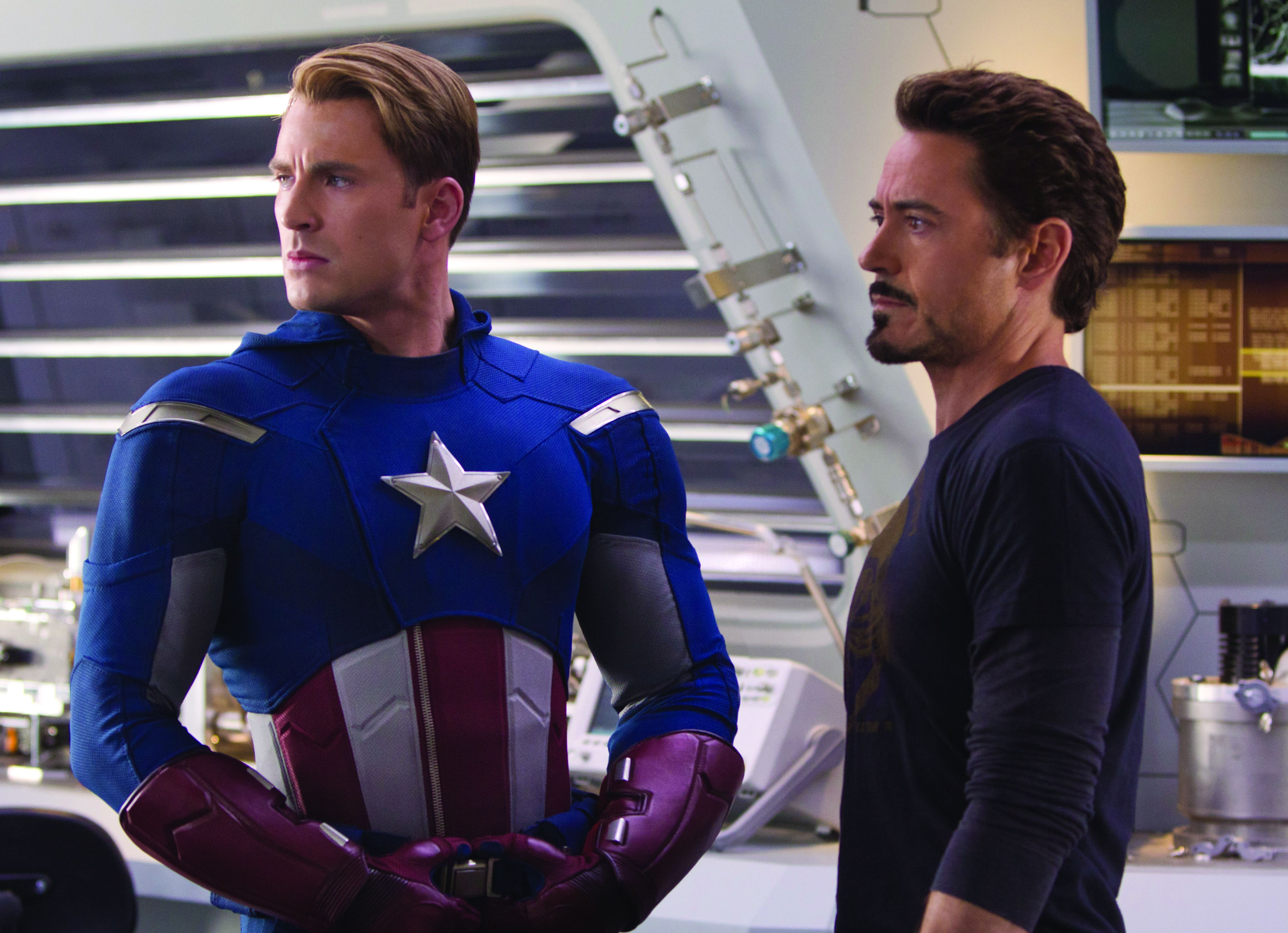 Stark and Rogers in The Avengers