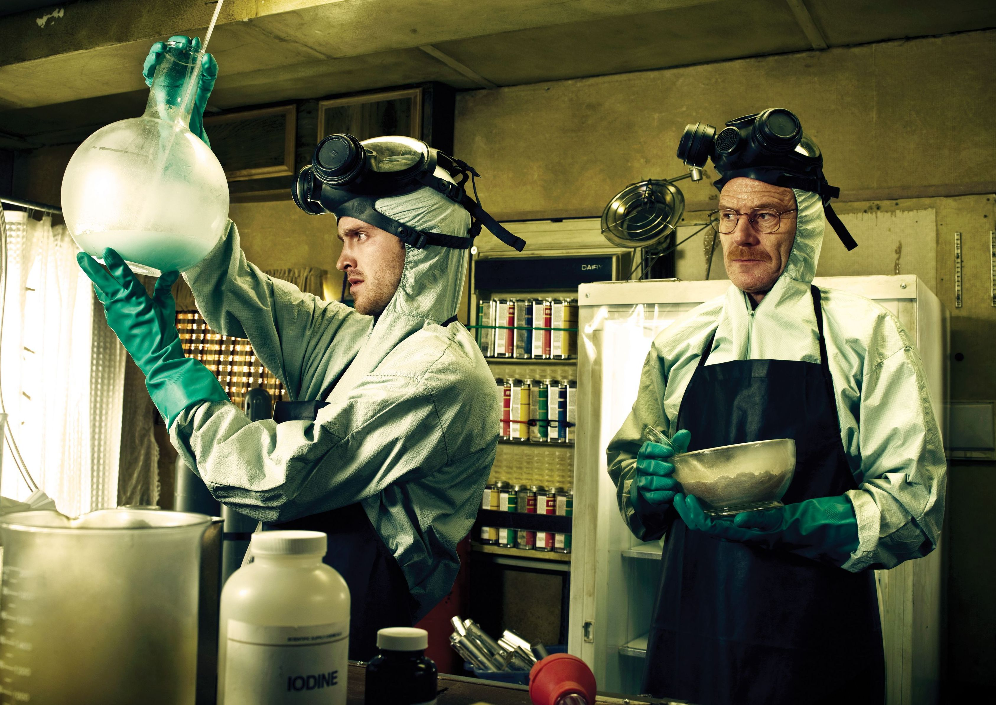 Aaron Paul and Bryan Cranston cook in Breaking Bad