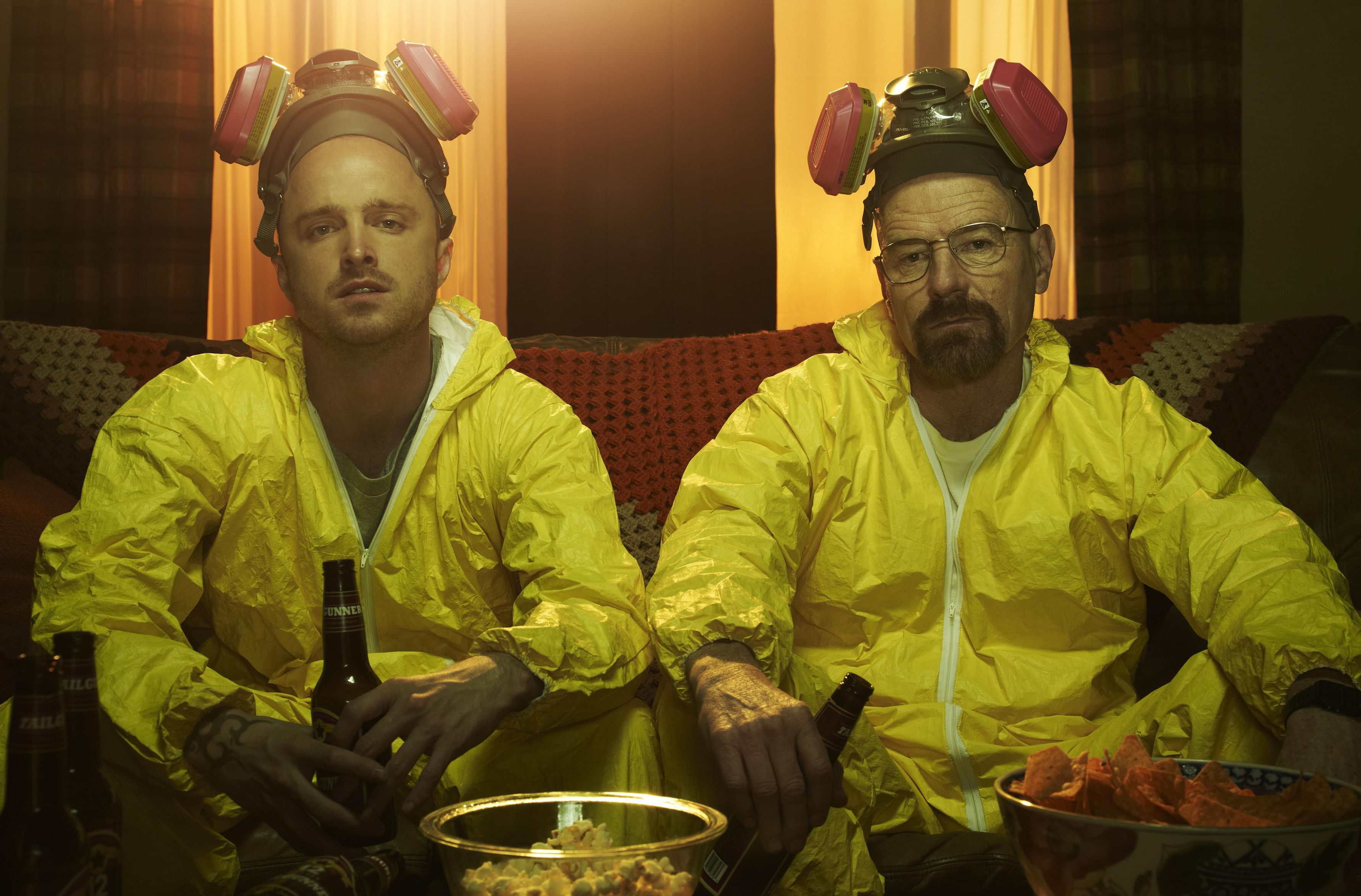 Walter and Jesse have a beer after cooking - Breaking Bad