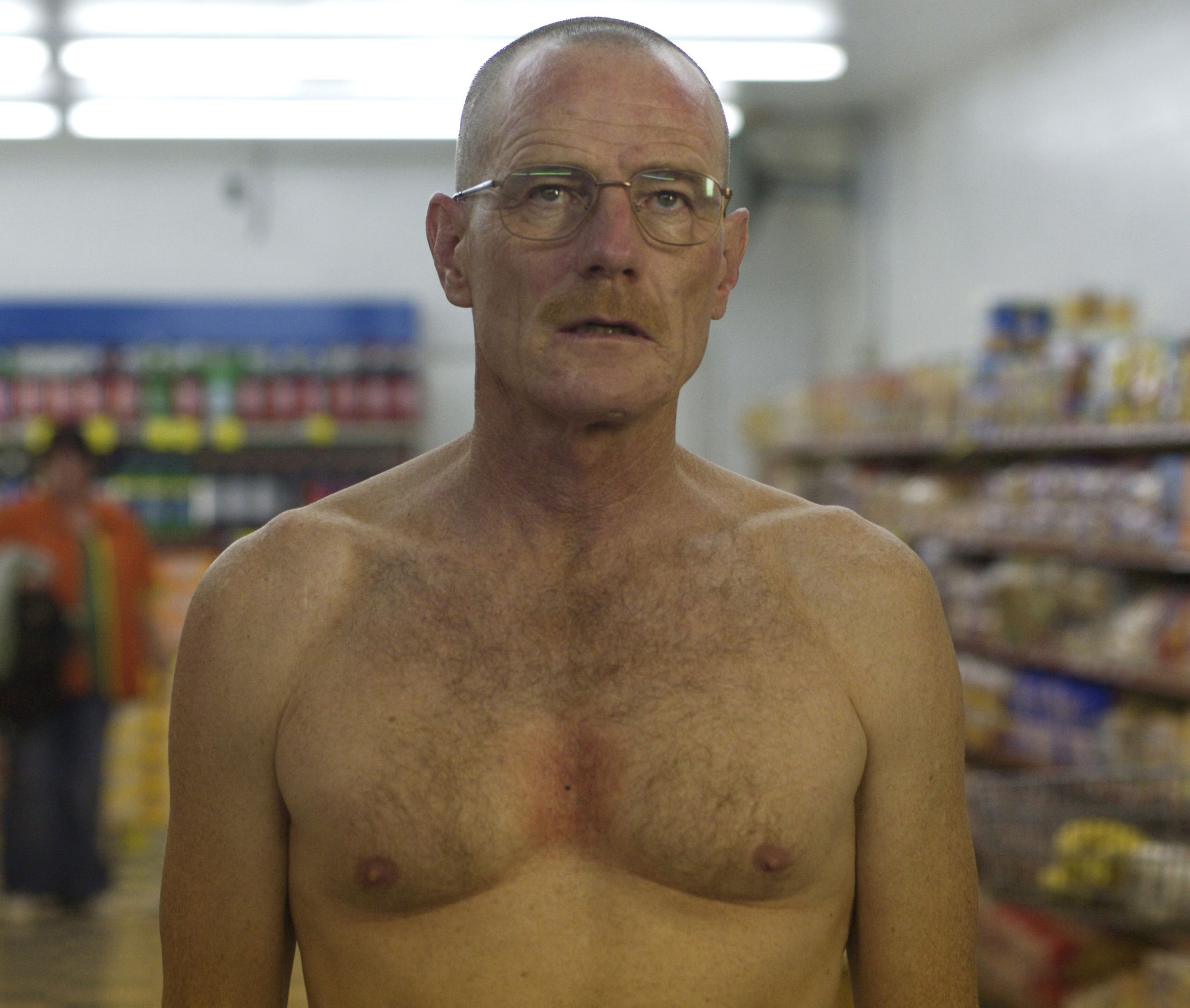 Walter White naked in the supermarket