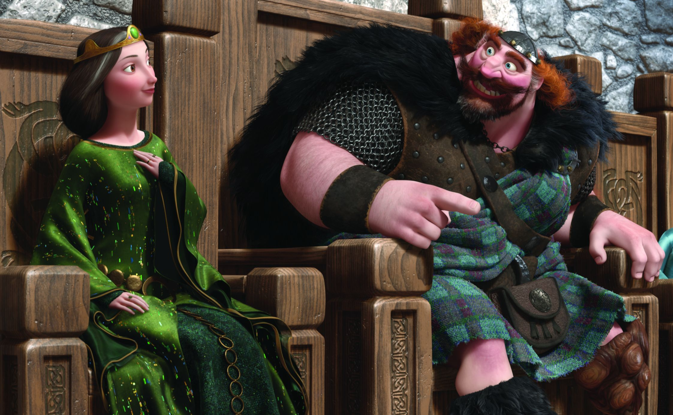 Queen Elinor and King Fergus on their thrones in Brave