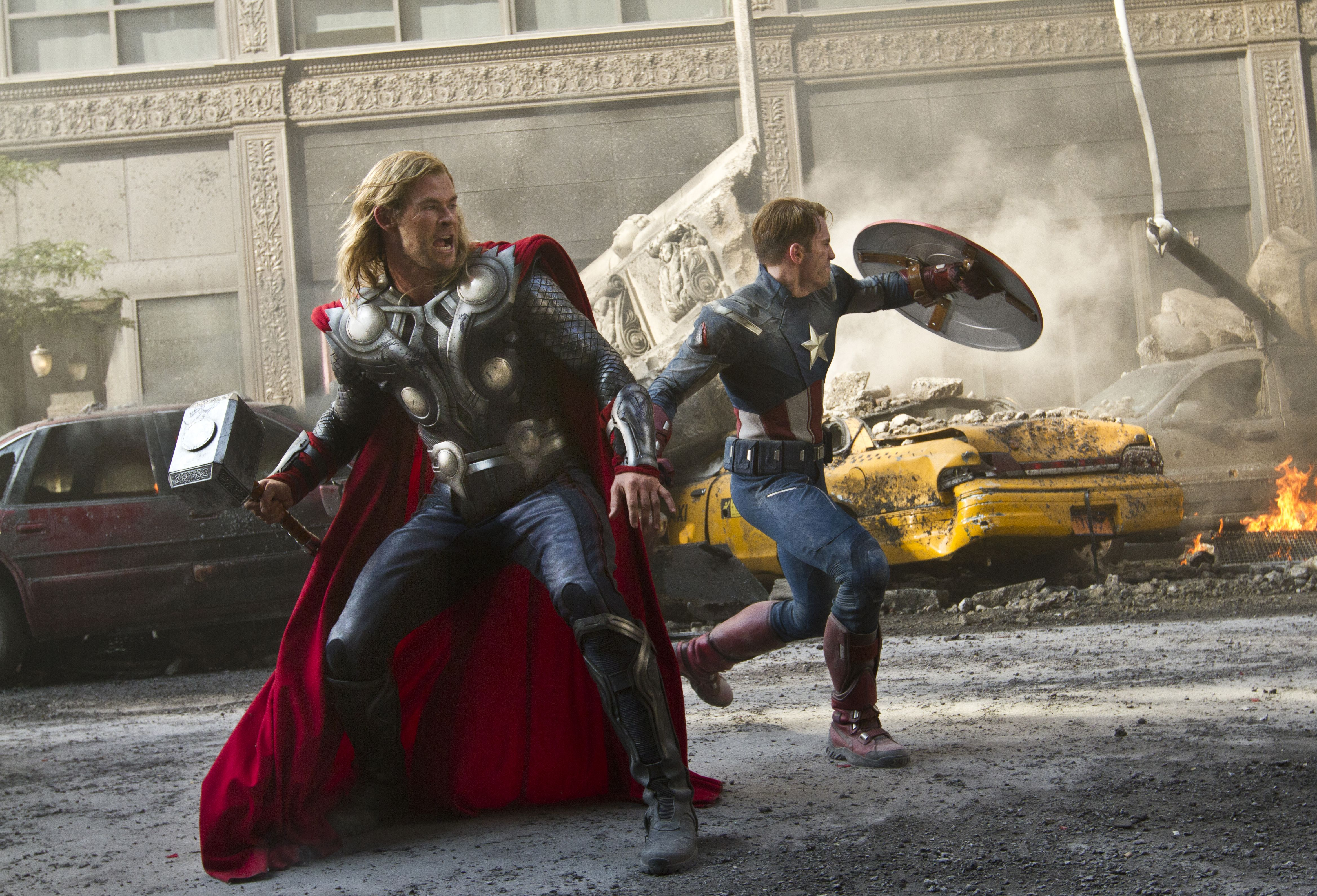 Big fight scene in The Avengers 1, Thor and Captain America