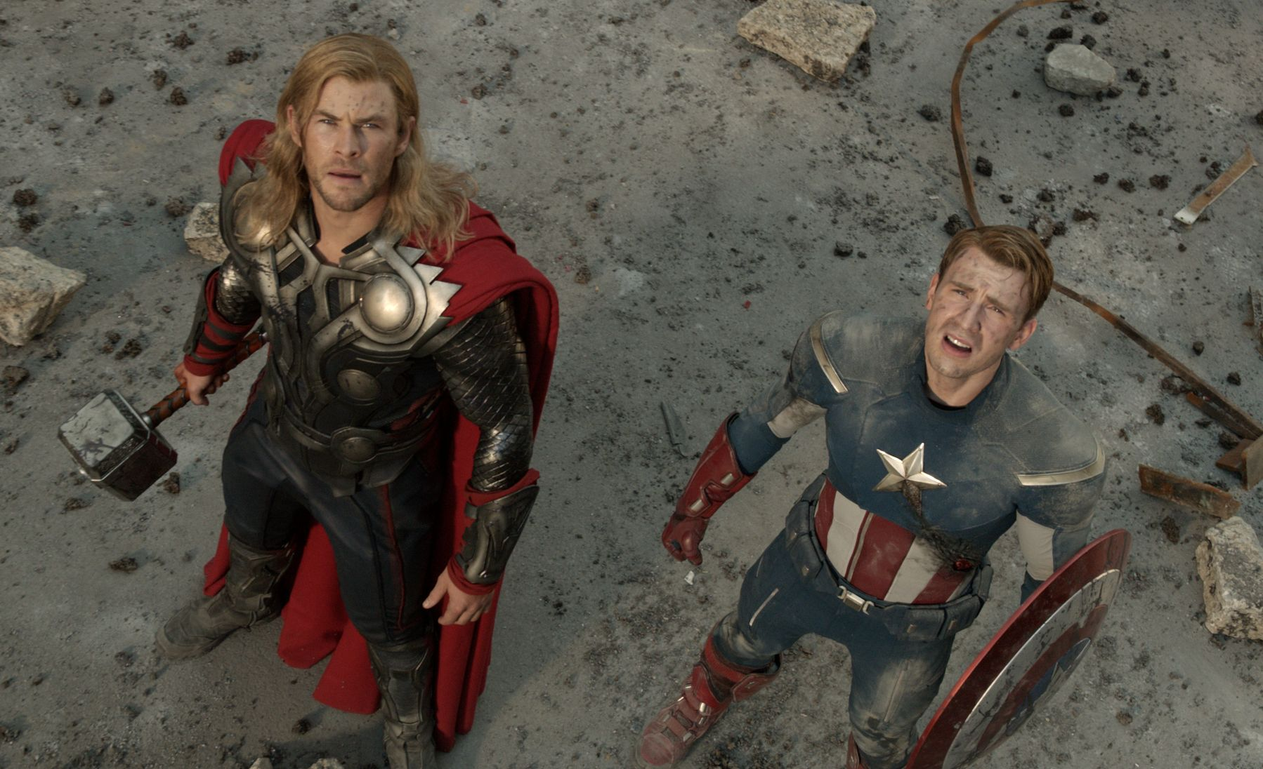 Chris Hemsworth and Chris Evans looking up - The Avengers