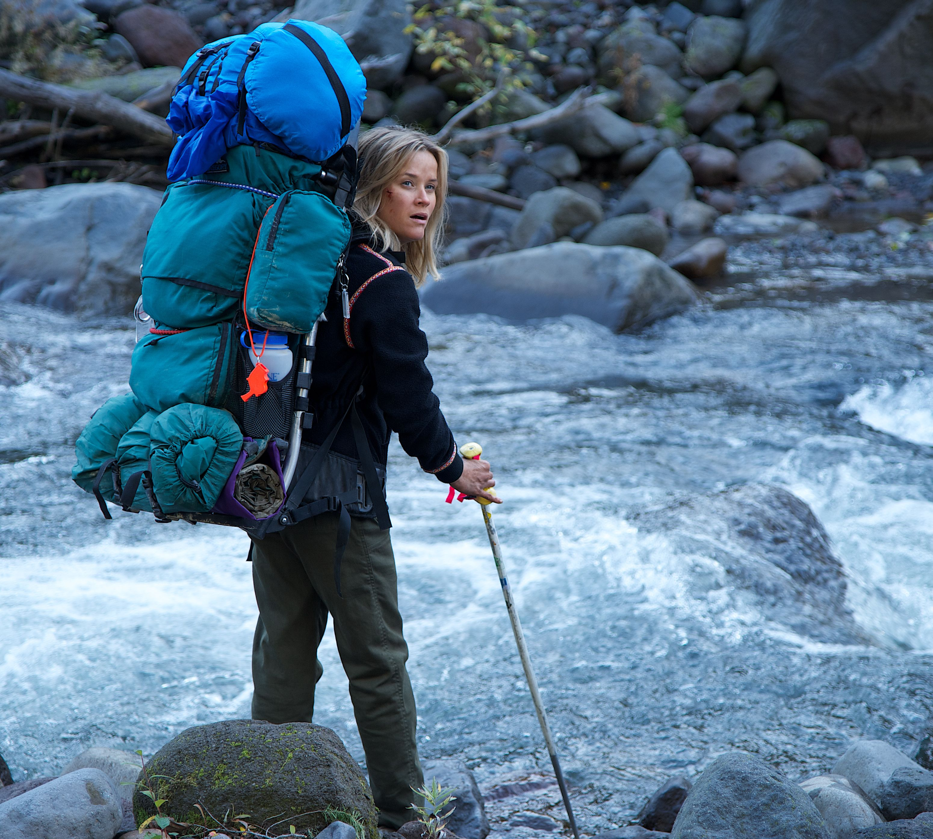 Reese Witherspoon at a rocky river - Wild