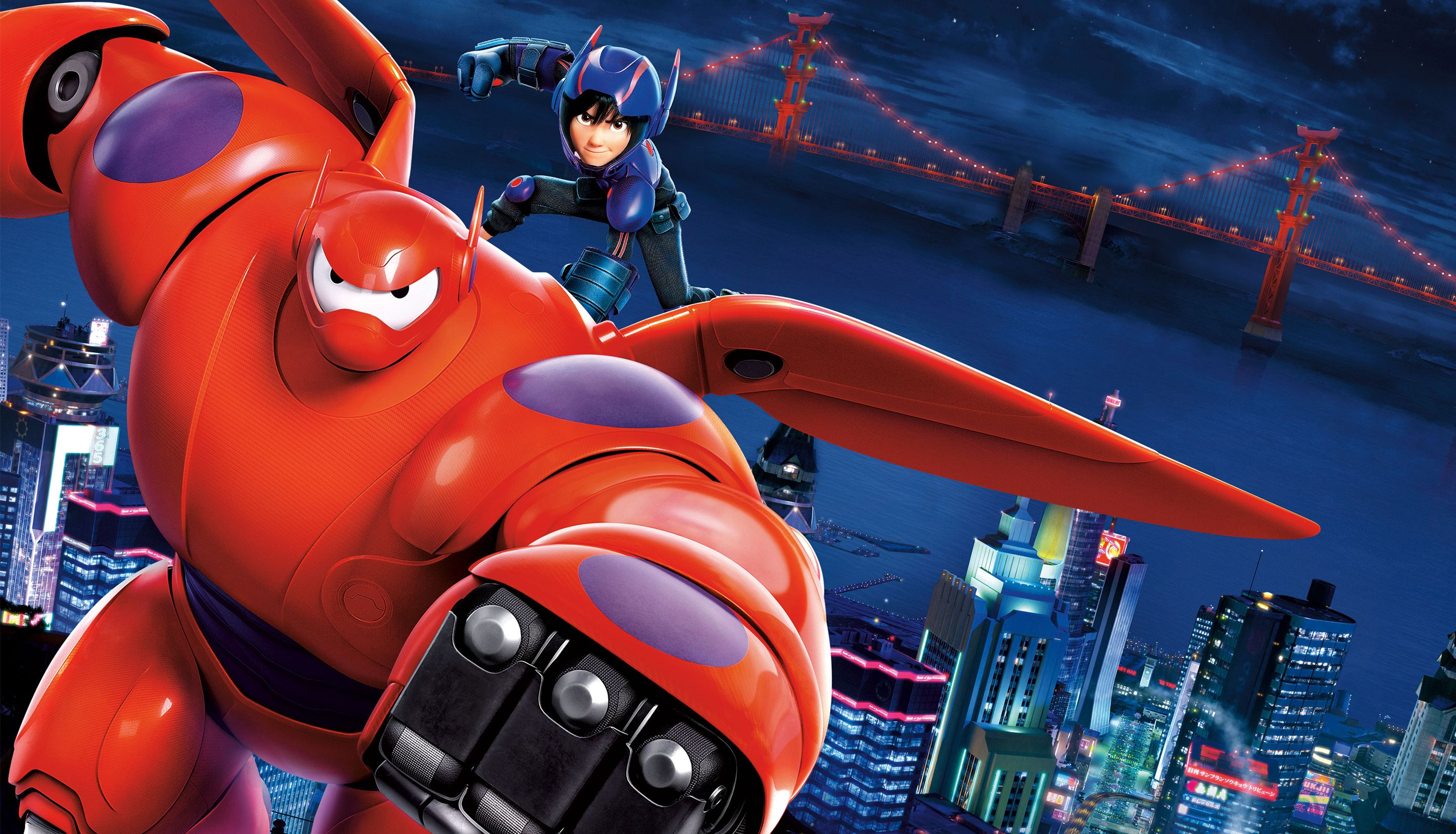 Hiro and Baymax fly